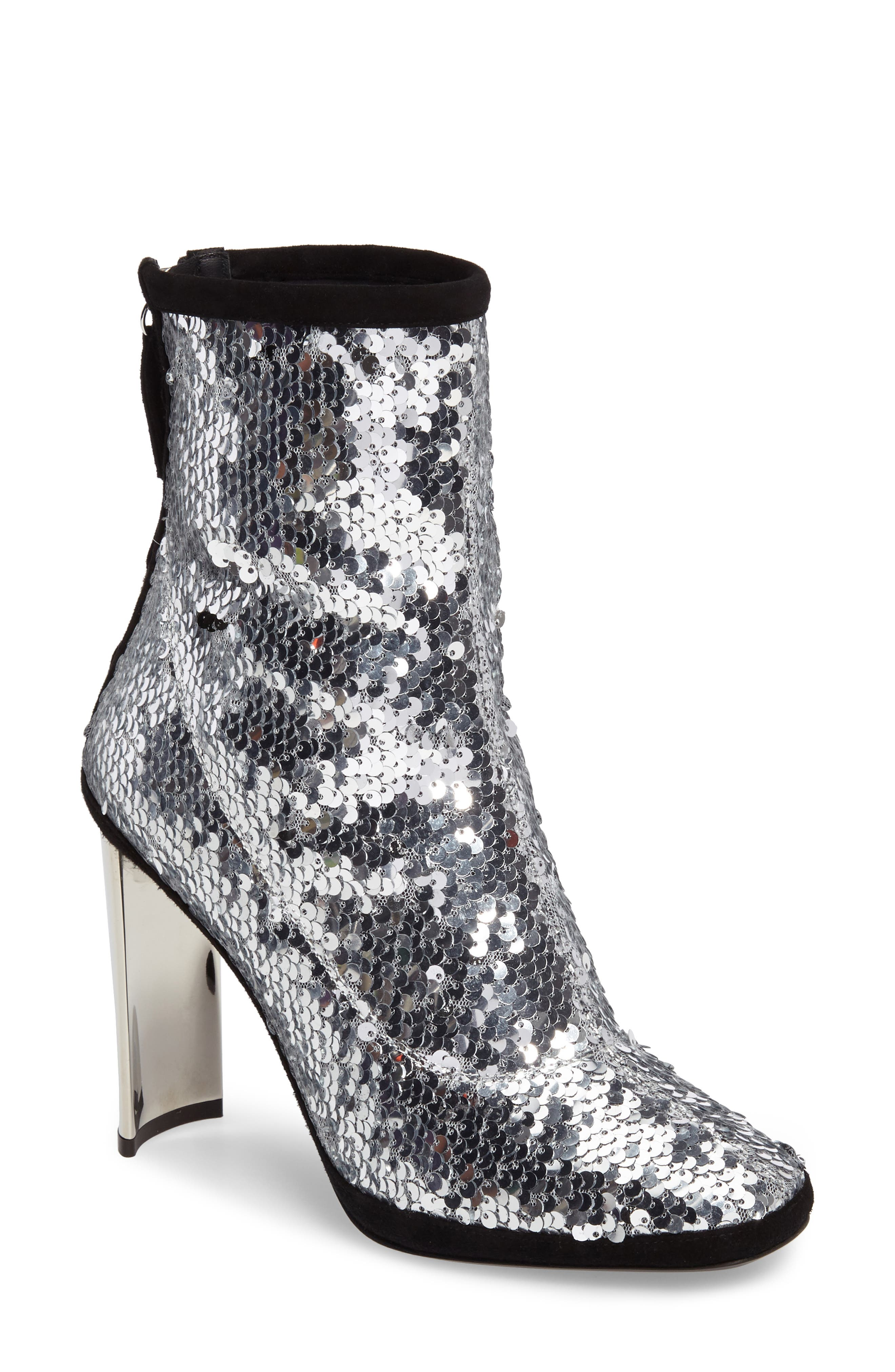 Sequin Curved Heel Bootie,                             Main thumbnail 1, color,                             040
