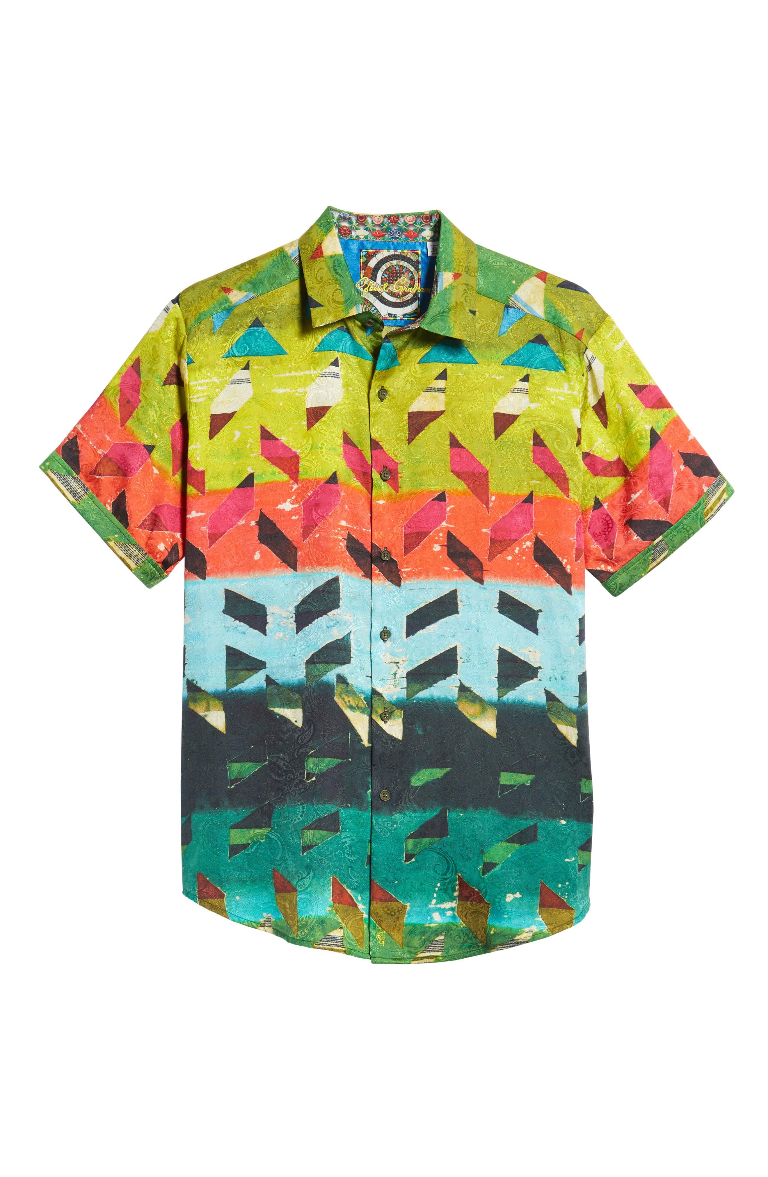 Sharpe Classic Fit Silk Blend Sport Shirt,                             Alternate thumbnail 5, color,                             MULTI