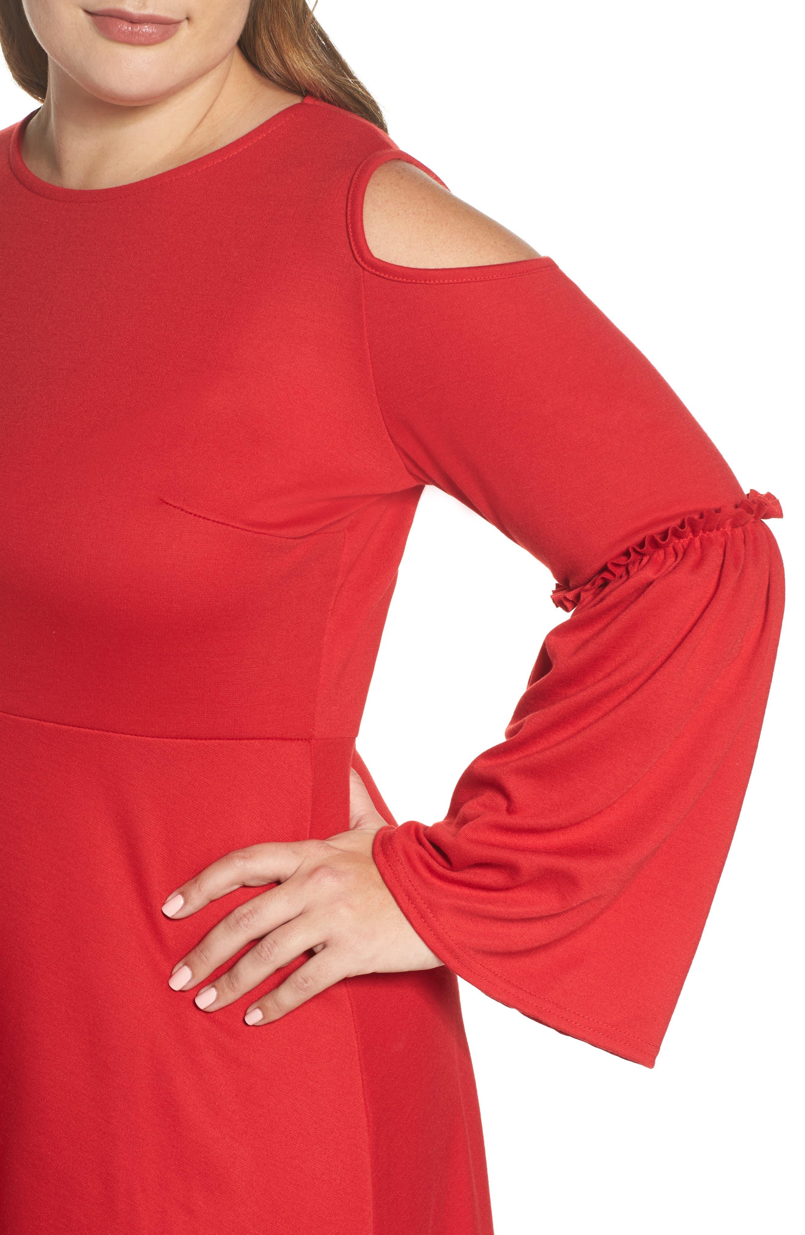 Frill Sleeve Cold Shoulder Skater Dress,                             Alternate thumbnail 4, color,