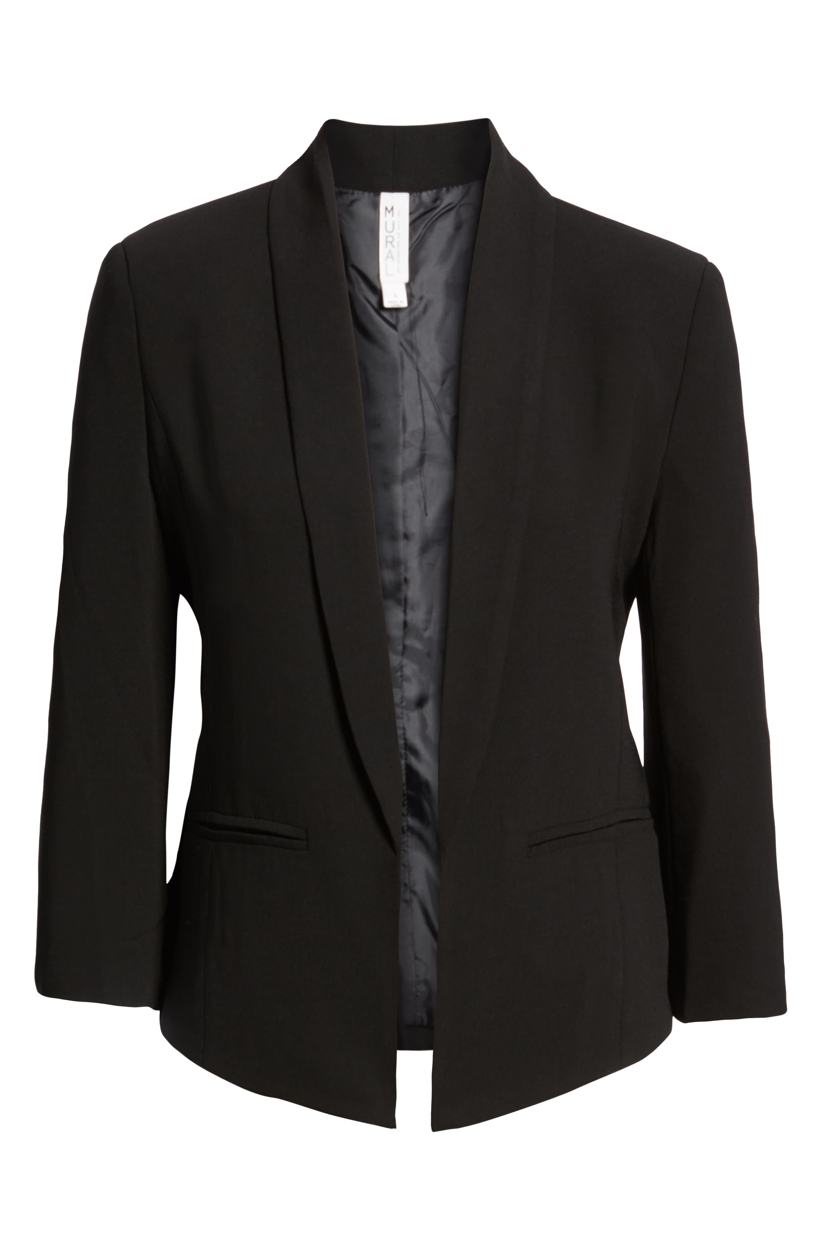 'Curve' Open Front Shawl Collar Blazer,                             Alternate thumbnail 2, color,                             BLACK