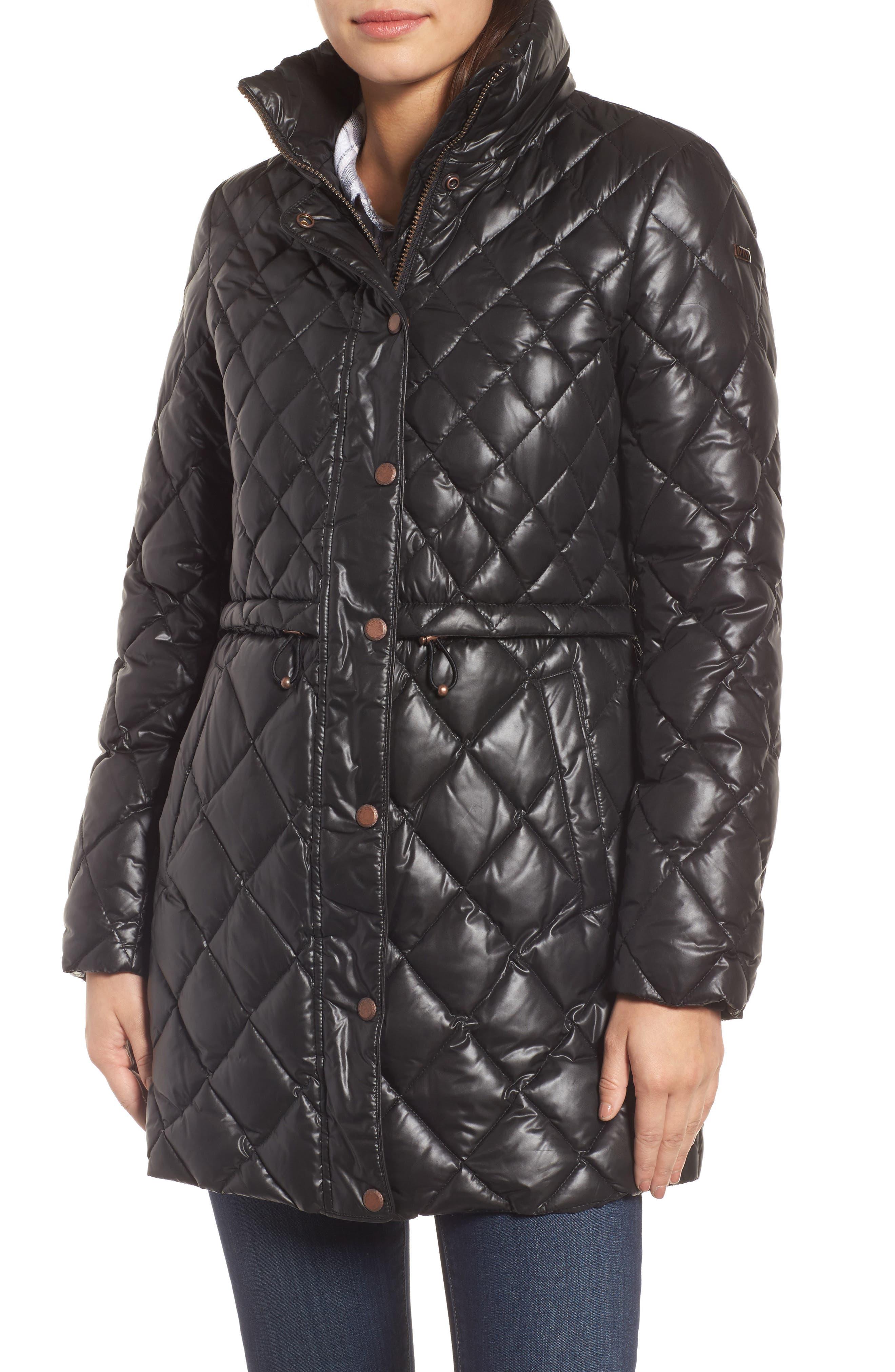 Quilted Anorak with Genuine Coyote Fur,                             Alternate thumbnail 4, color,                             001