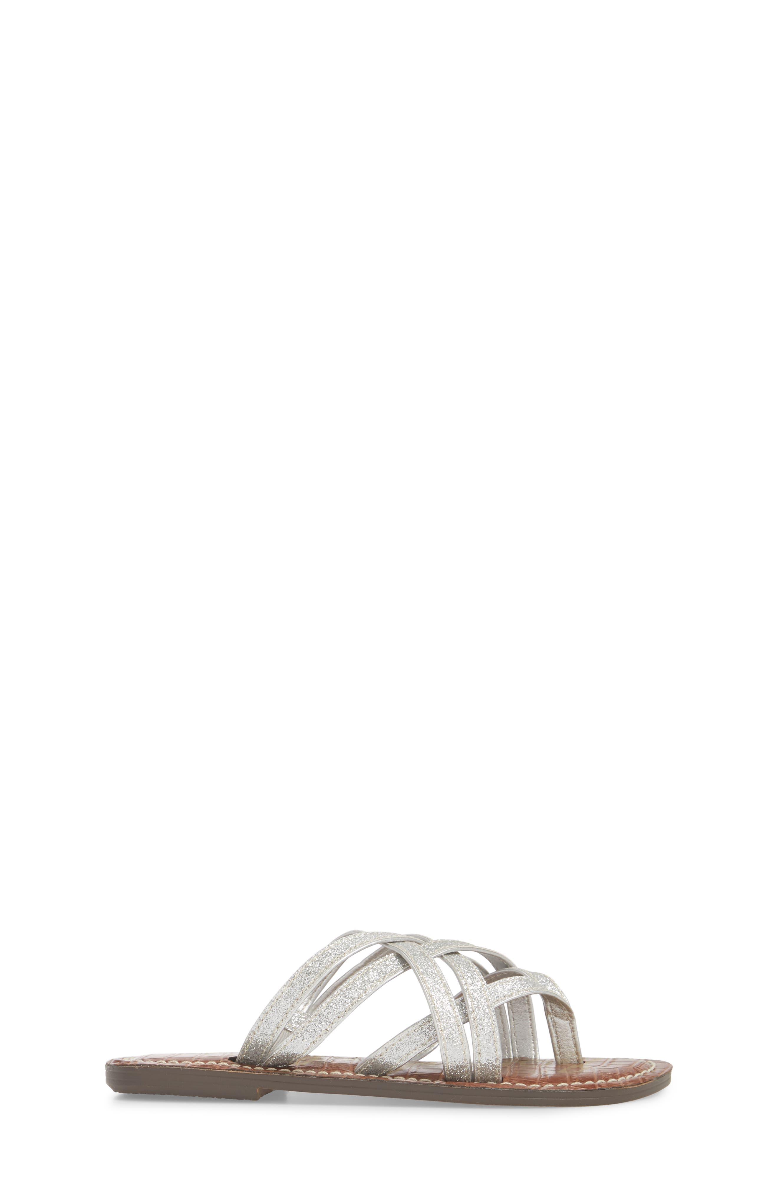 Georgette Glitter Flat Sandal,                             Alternate thumbnail 3, color,                             040
