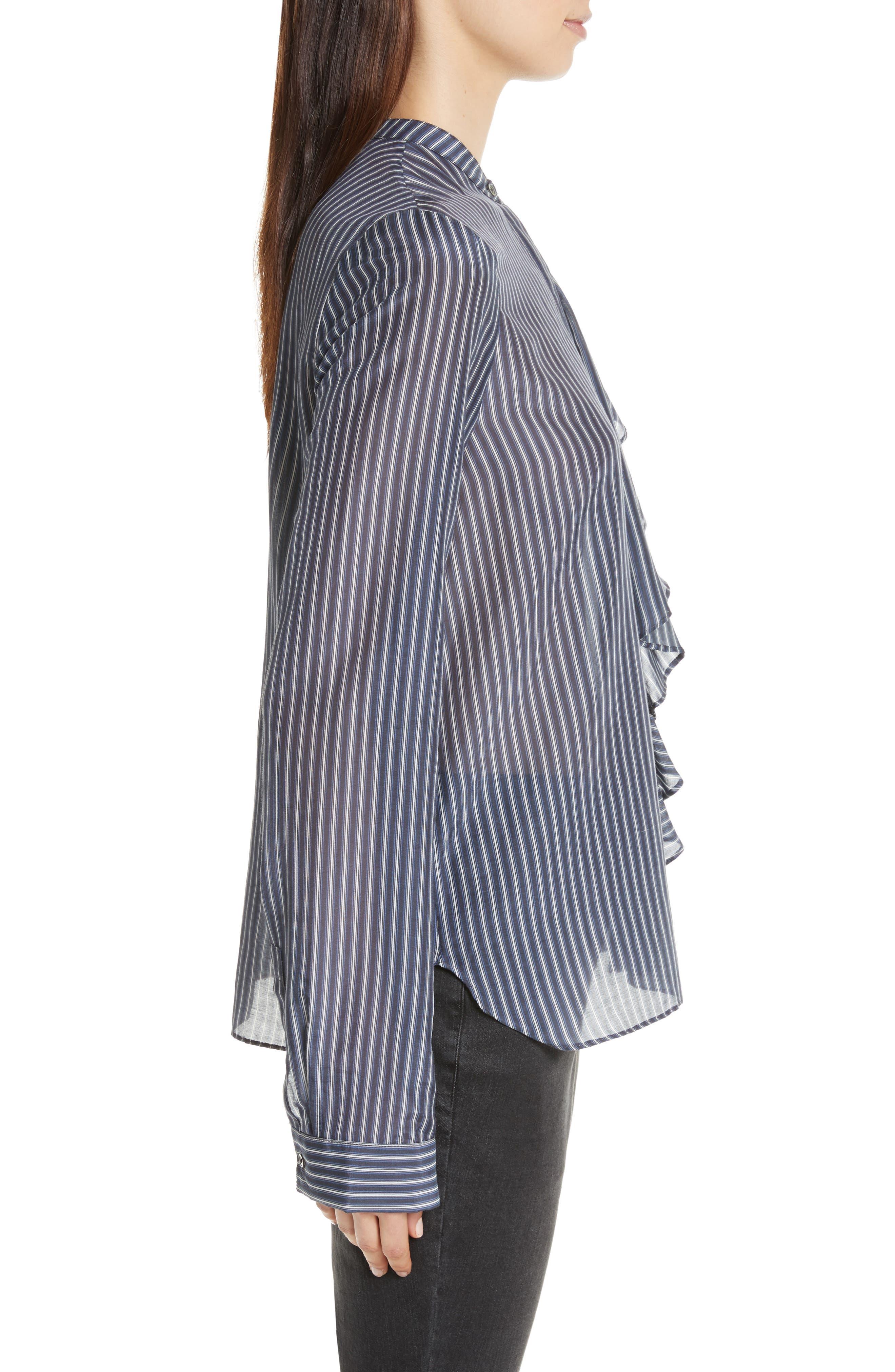 Vertical Stripe Ruffle Shirt,                             Alternate thumbnail 3, color,                             400
