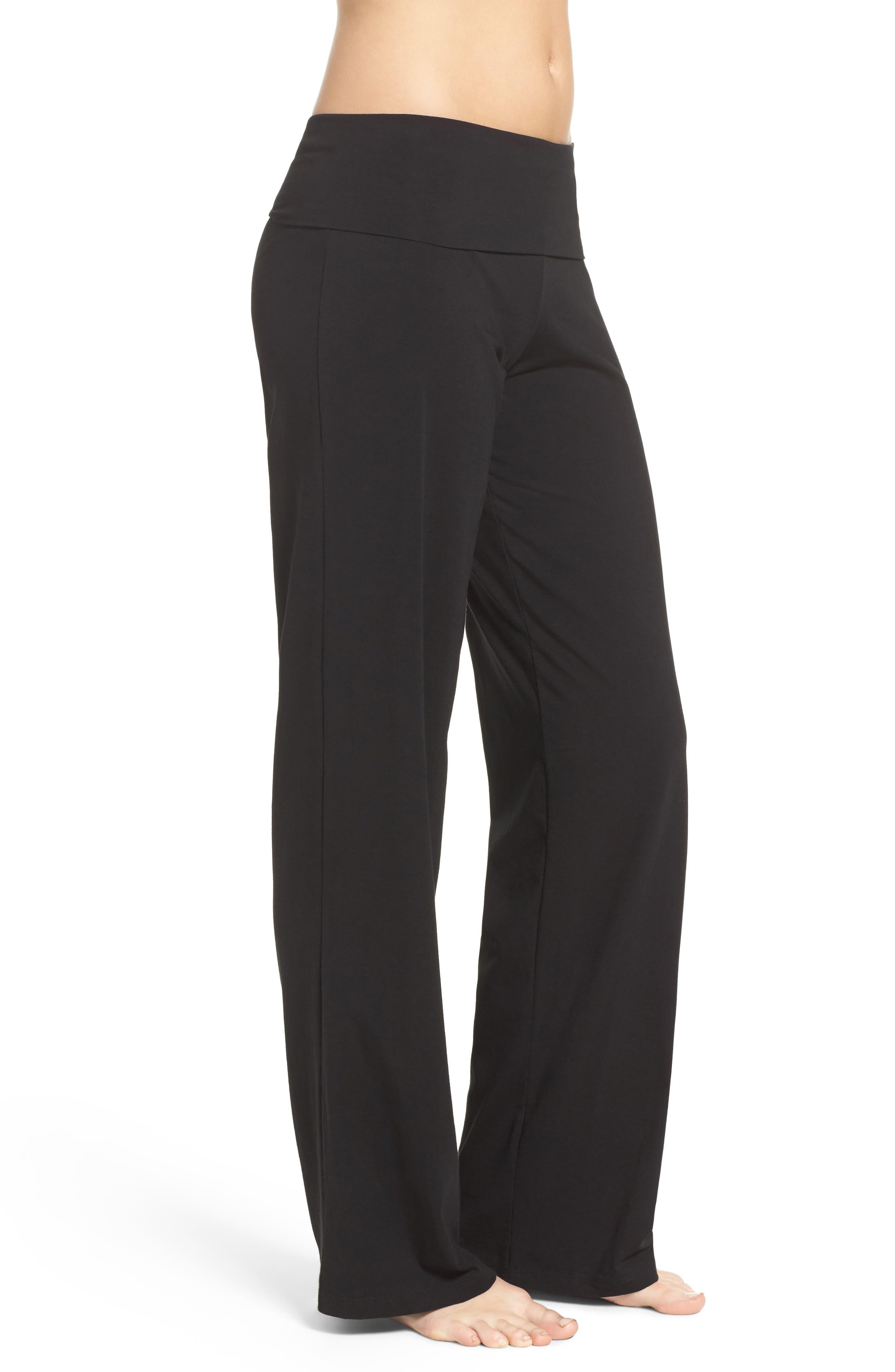 Wide Leg Stretch Cotton Pajama Pants,                             Alternate thumbnail 3, color,                             001