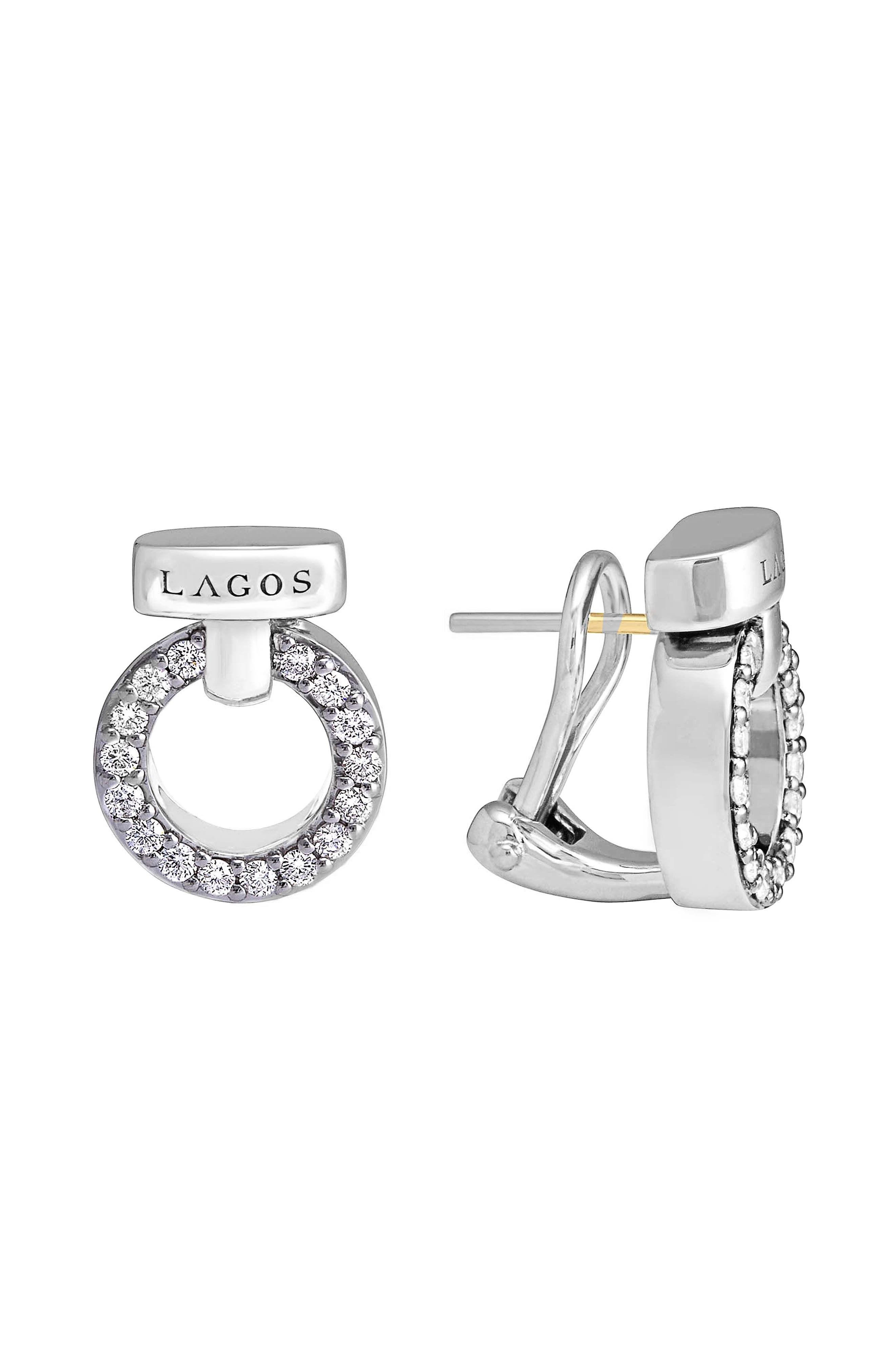 'Enso - Circle Game' Diamond Stud Earrings,                             Main thumbnail 1, color,                             SILVER