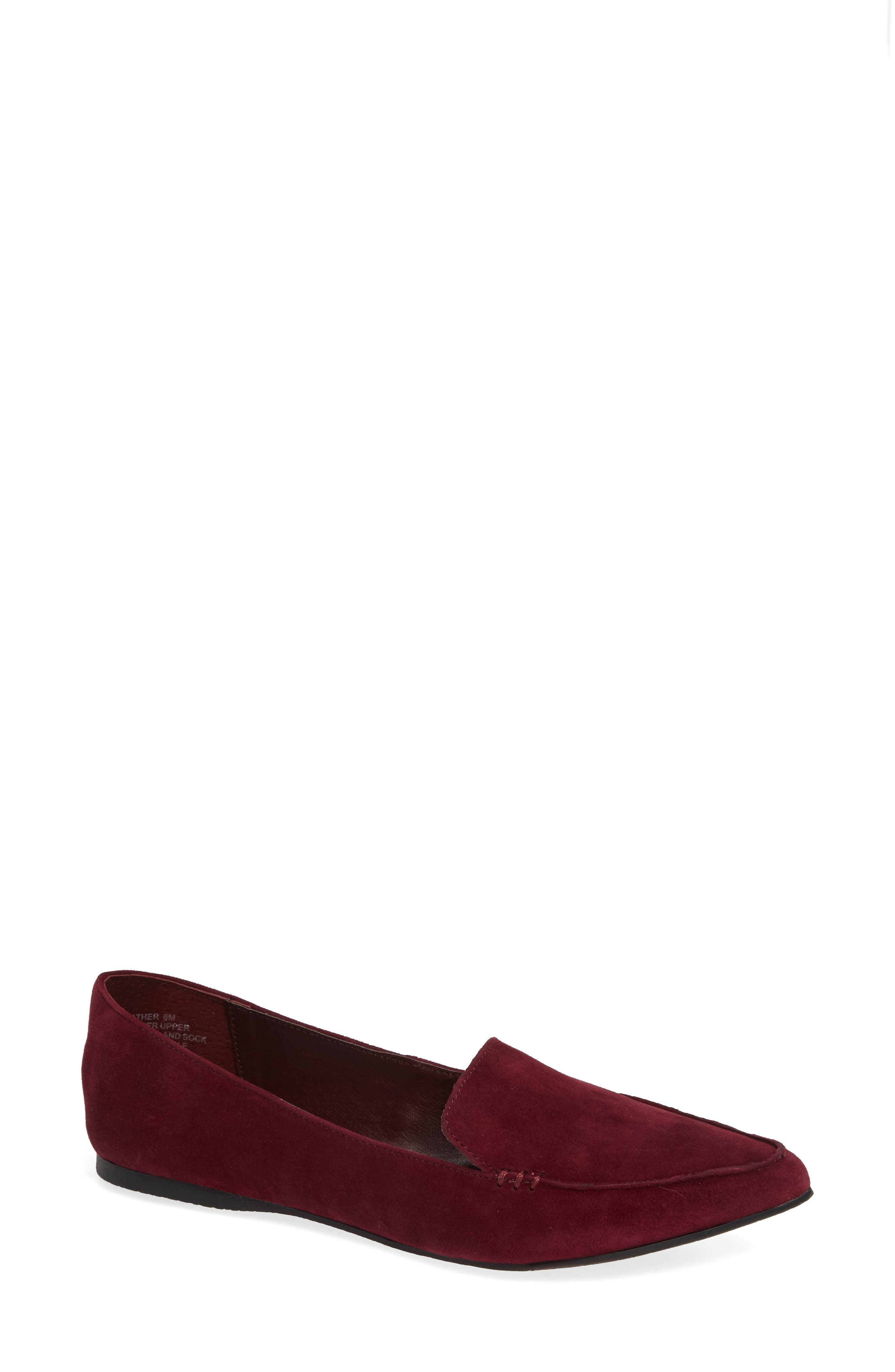 Feather Loafer Flat,                             Main thumbnail 1, color,                             BURGUNDY