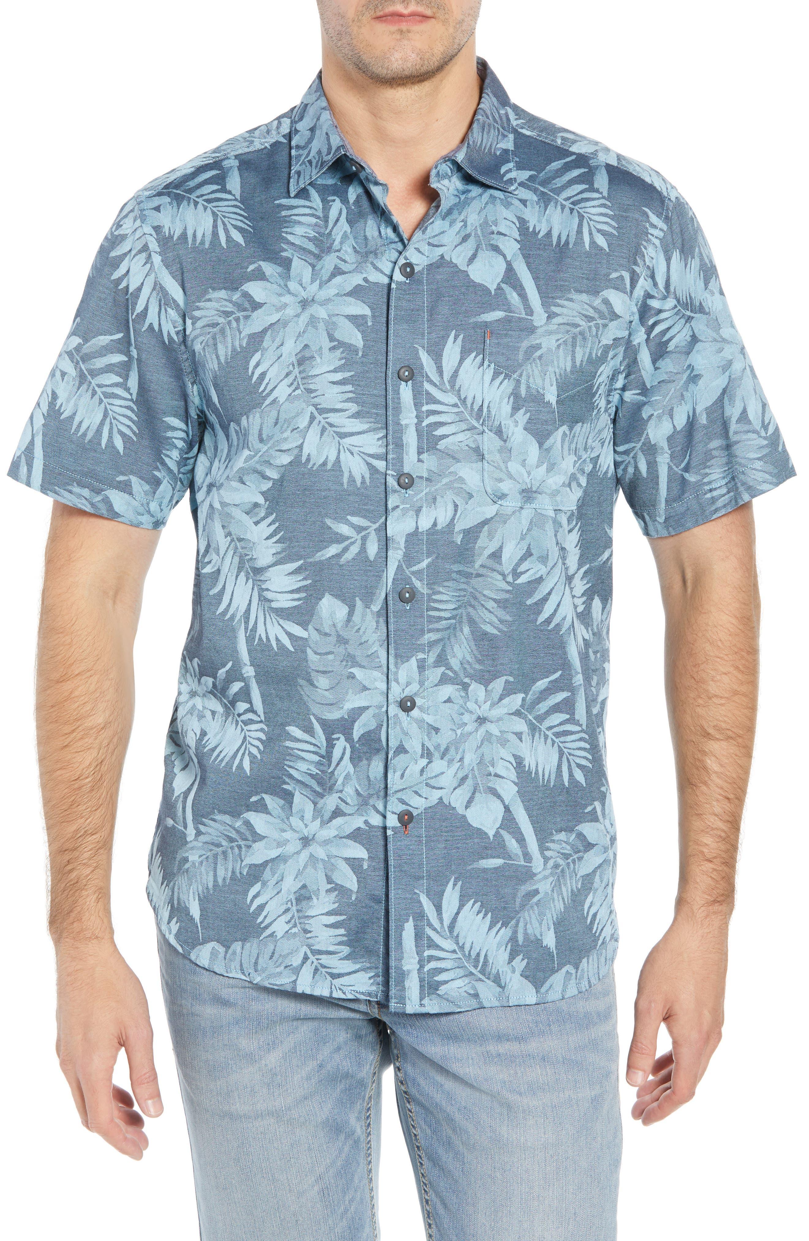 Tropical Tones Regular Fit Sport Shirt,                             Main thumbnail 1, color,                             OCEAN DEEP