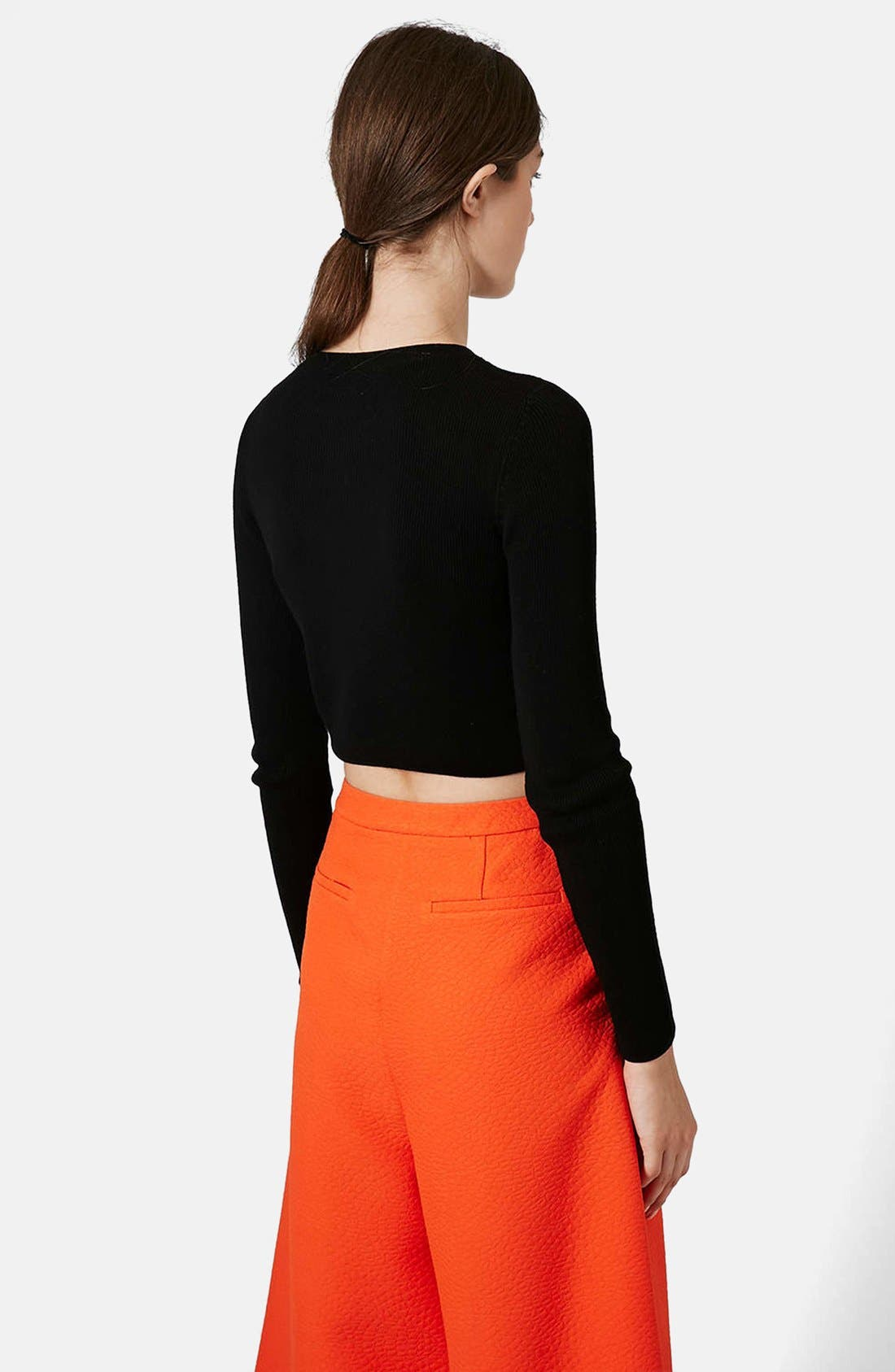 Ribbed Crop Sweater,                             Alternate thumbnail 3, color,                             001