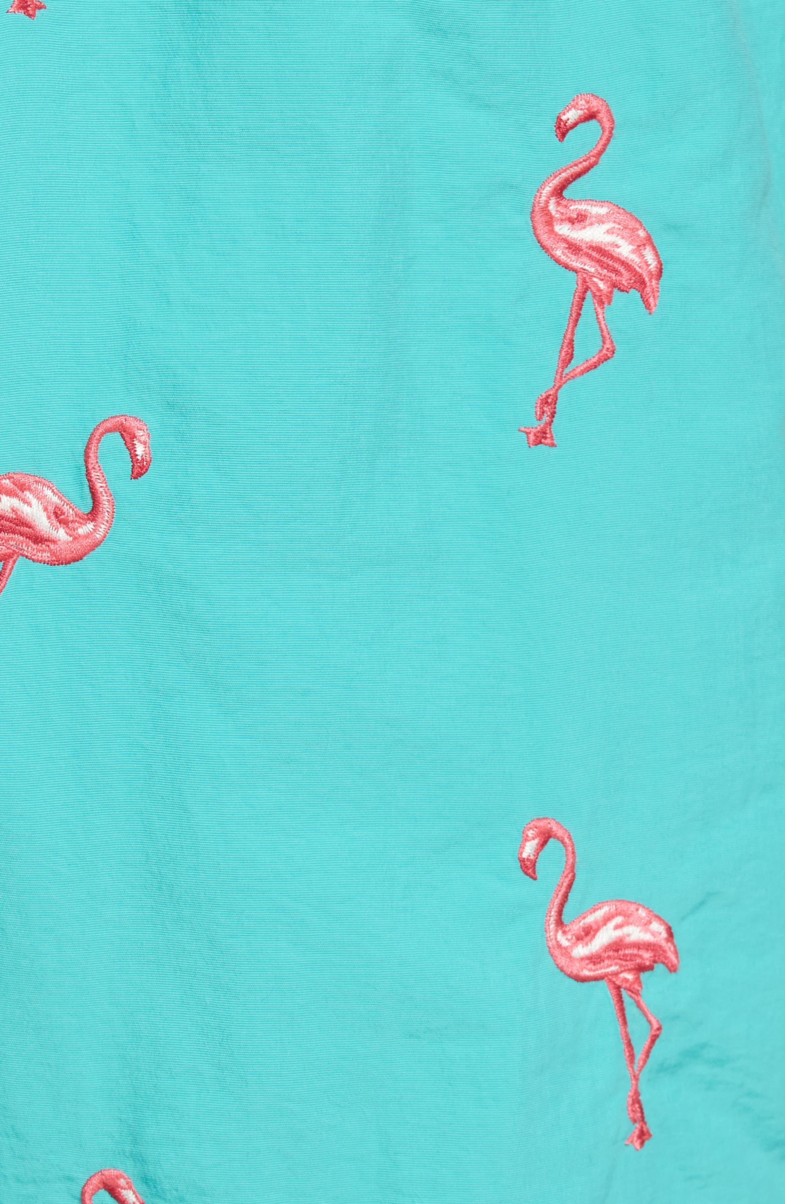 Naples Flamingo Coast Swim Trunks,                             Alternate thumbnail 5, color,                             CASTAWAY GREEN