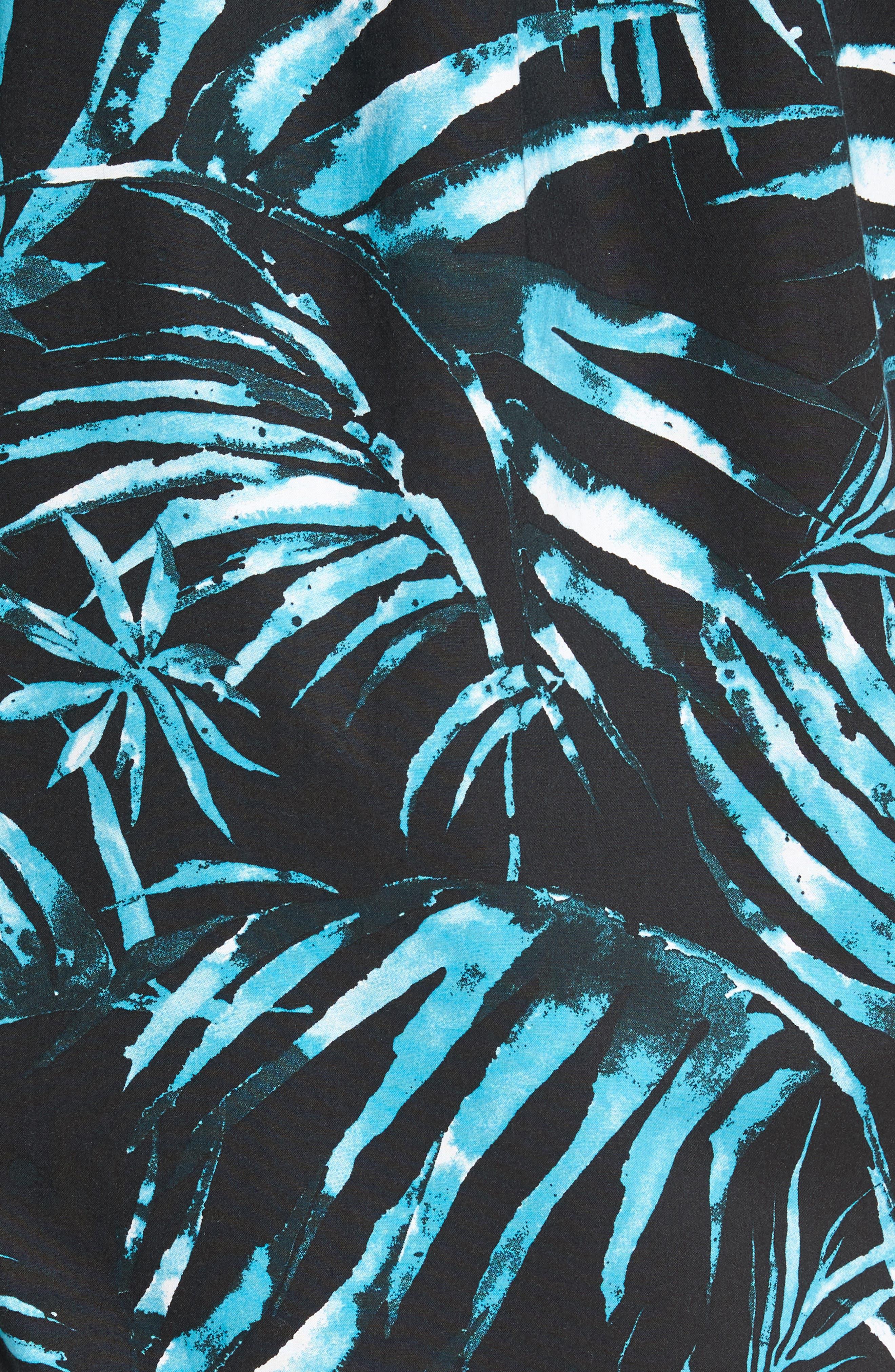 Del Playa Palm Print Woven Shirt,                             Alternate thumbnail 5, color,                             001