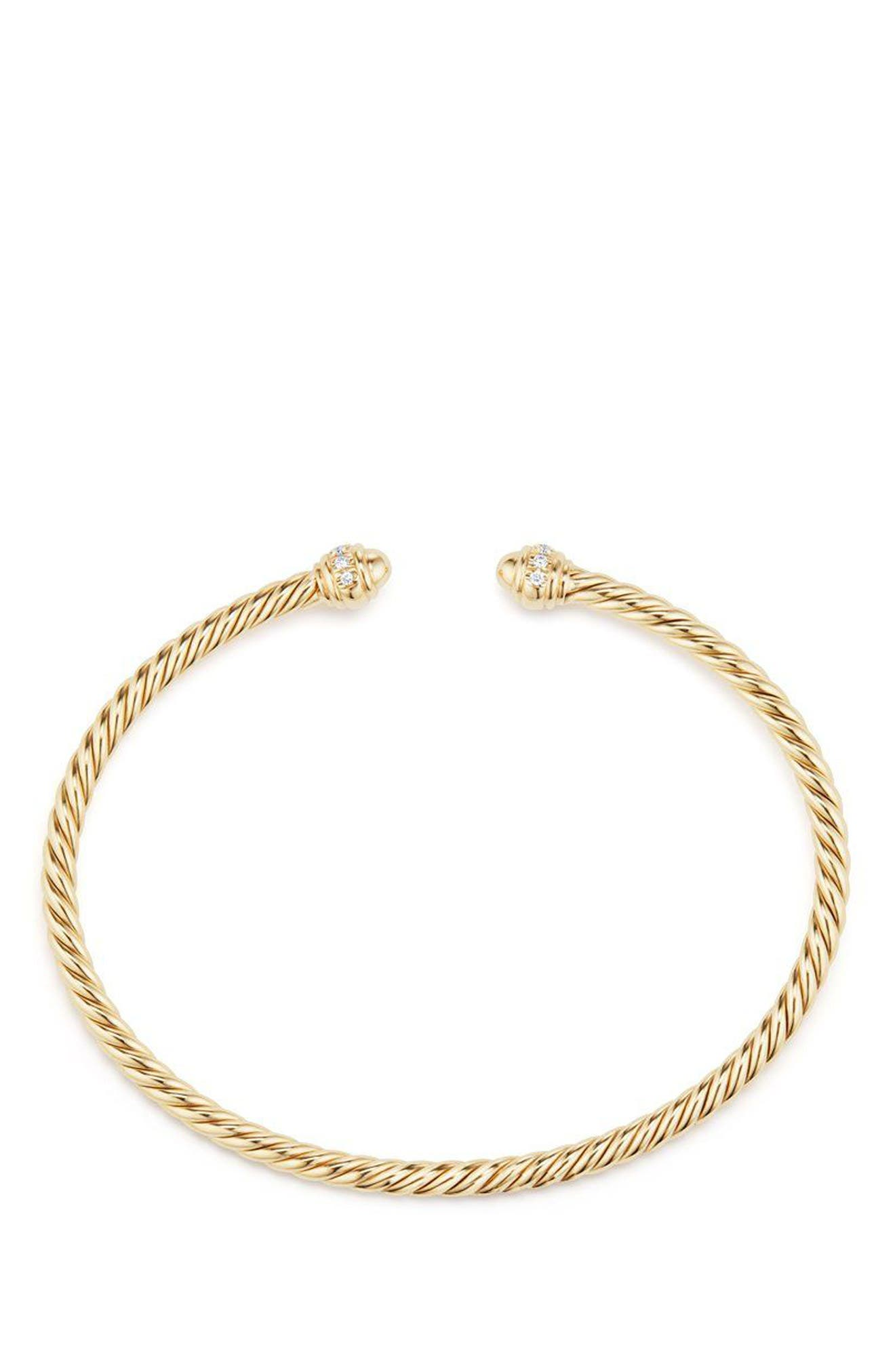 Cable Spira Bracelet in 18K Gold with Diamonds, 3mm,                             Alternate thumbnail 2, color,                             GOLD/ DIAMOND