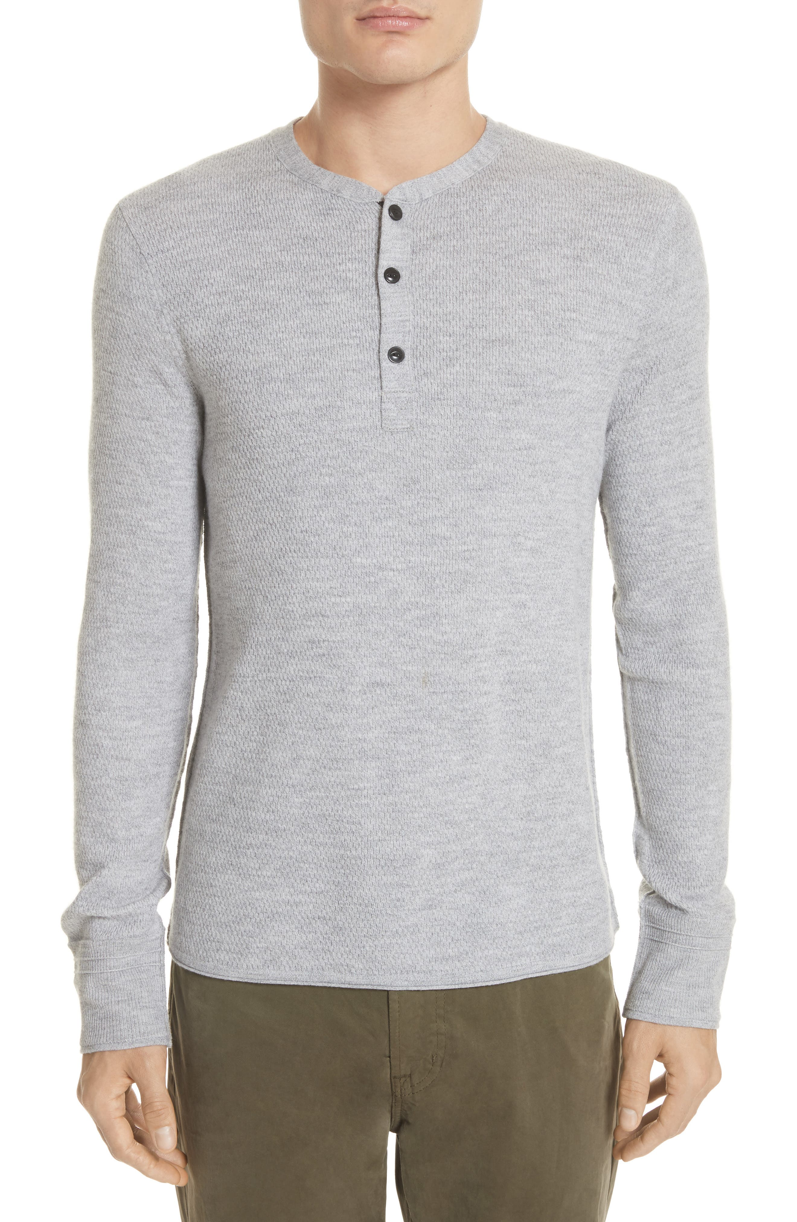 Gregory Wool Blend Thermal Henley,                         Main,                         color, GREY