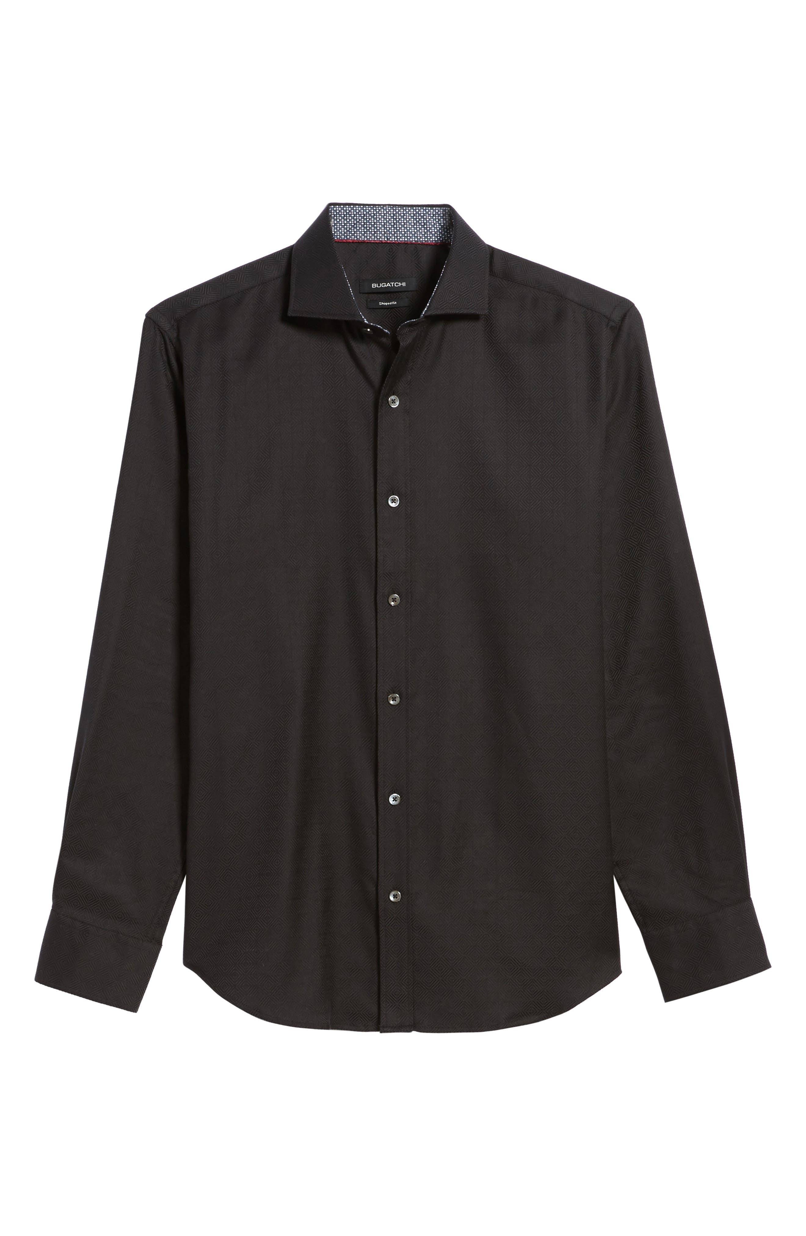 Classic Fit Check Jacquard Sport Shirt,                             Alternate thumbnail 6, color,                             001