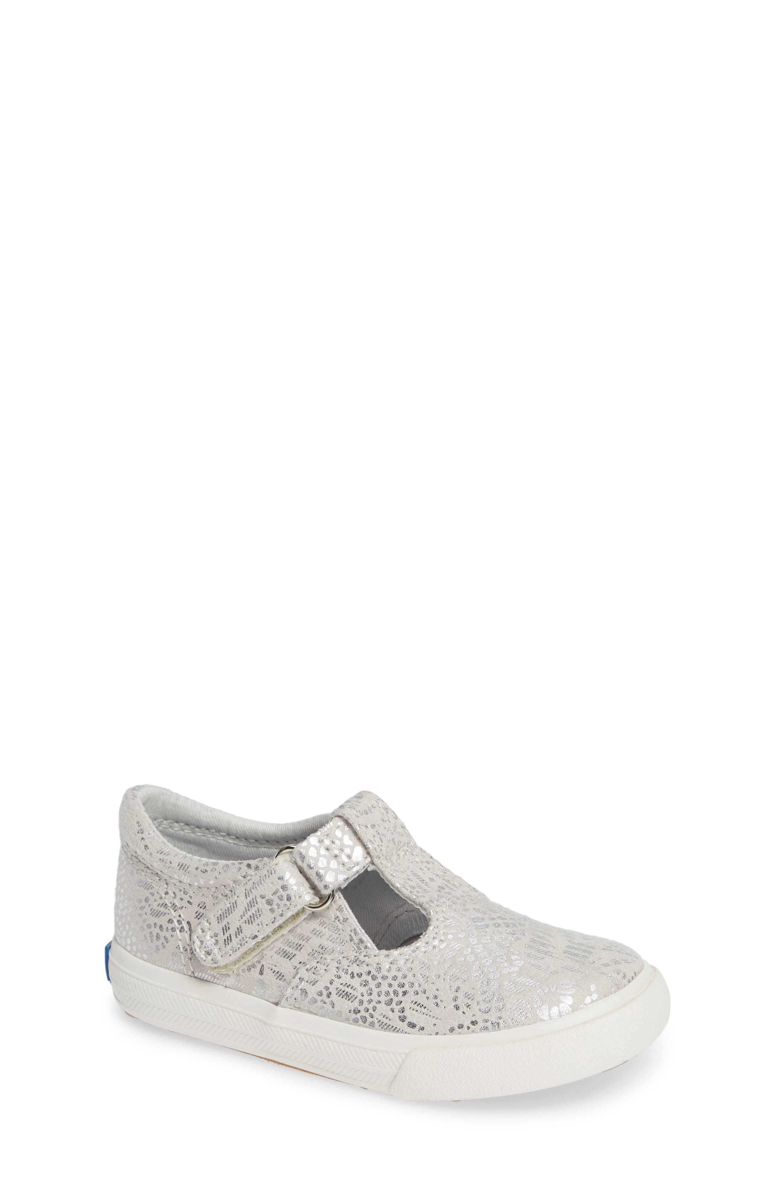 Daphne T-Strap Sneaker,                         Main,                         color, SILVER/ SILVER