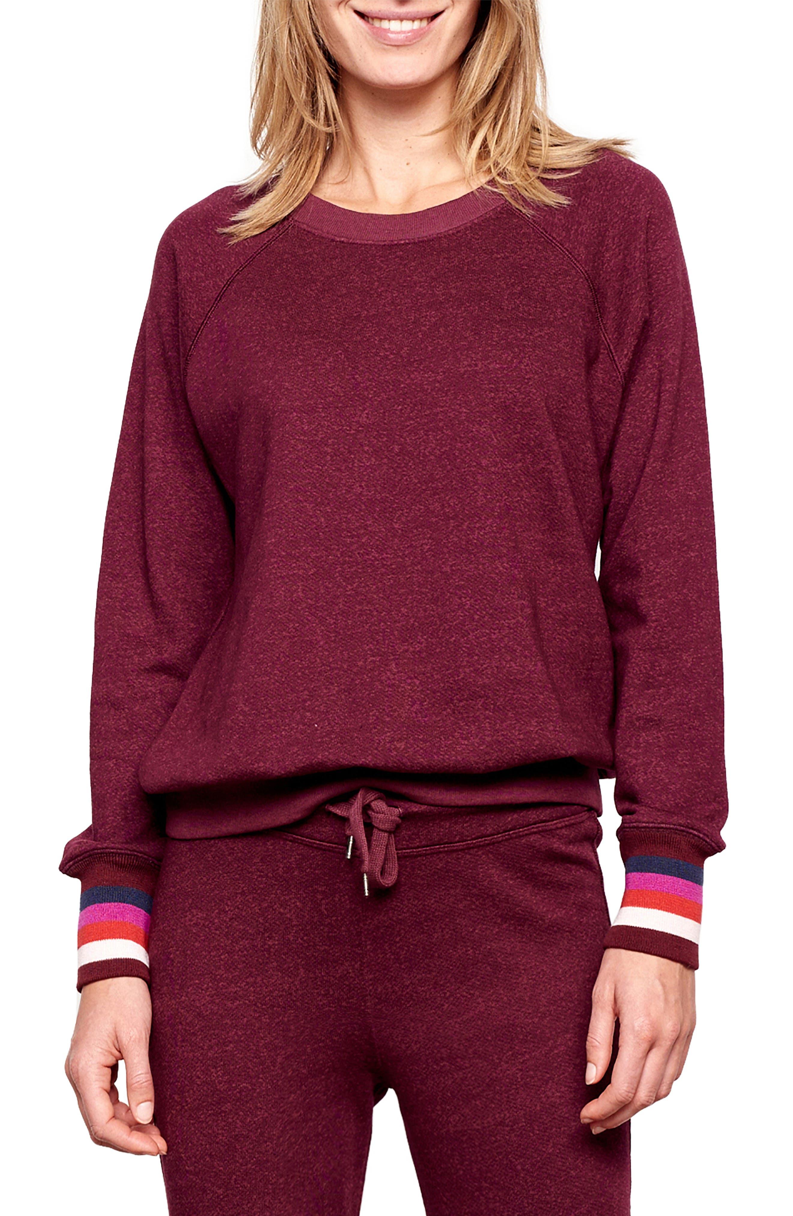 Stripe Cuff Sweatshirt,                             Main thumbnail 1, color,                             WINE