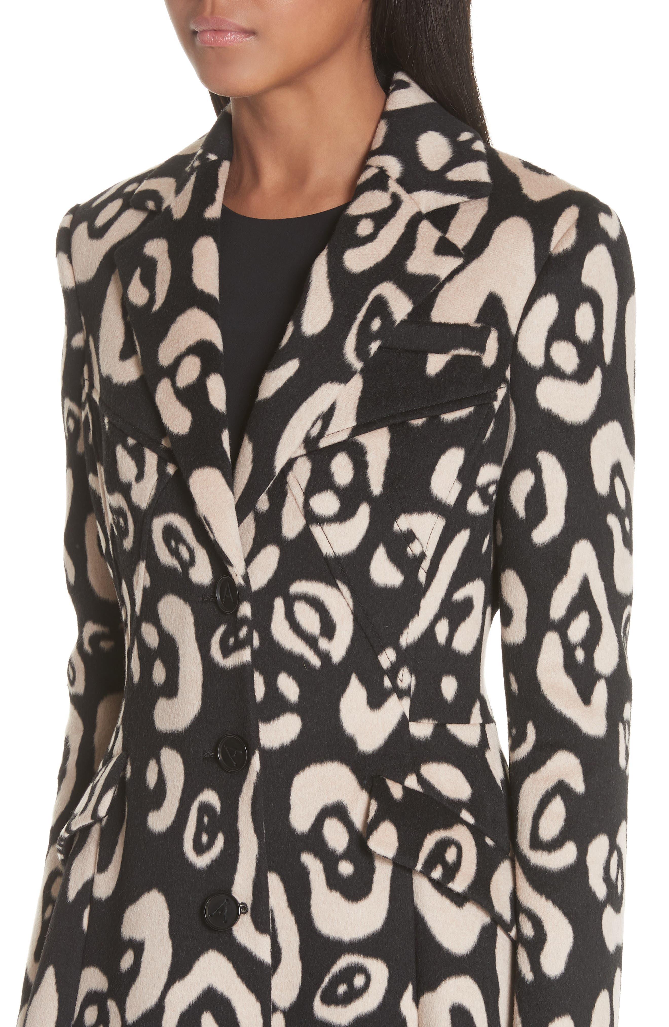Driss Leopard Print Wool Blend Coat,                             Alternate thumbnail 3, color,                             001