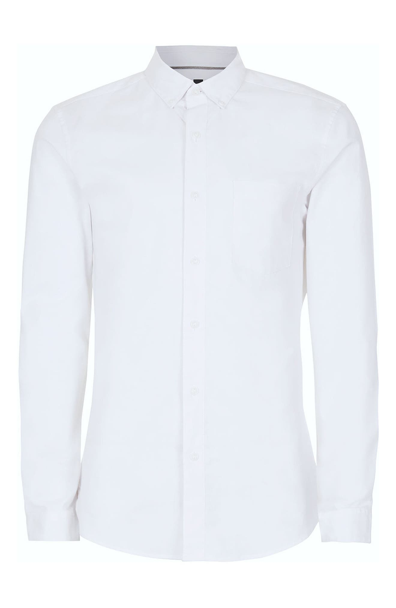 Muscle Fit Oxford Shirt,                             Alternate thumbnail 4, color,                             100