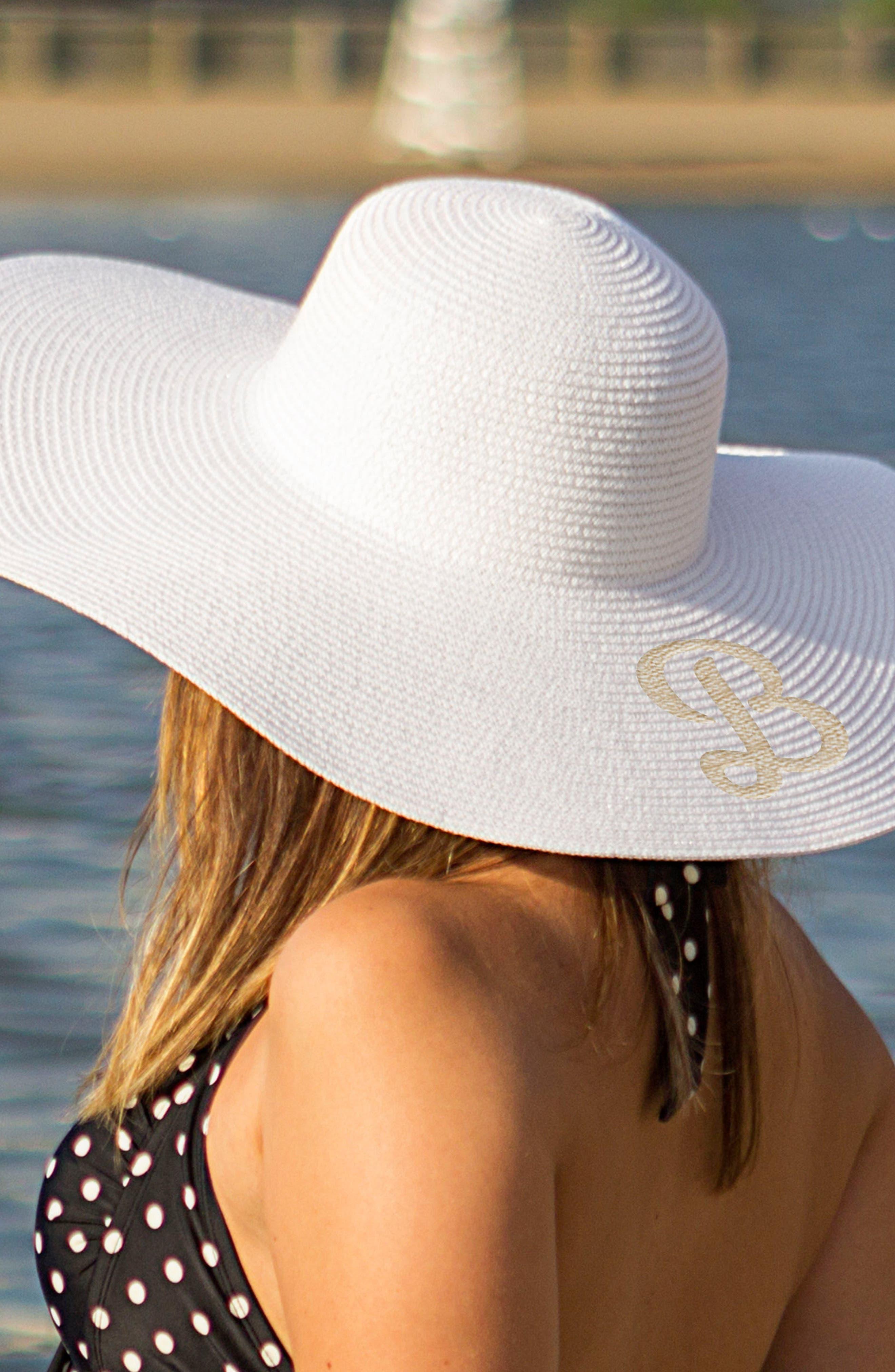 Monogram Straw Sun Hat,                             Alternate thumbnail 2, color,                             WHITE- B