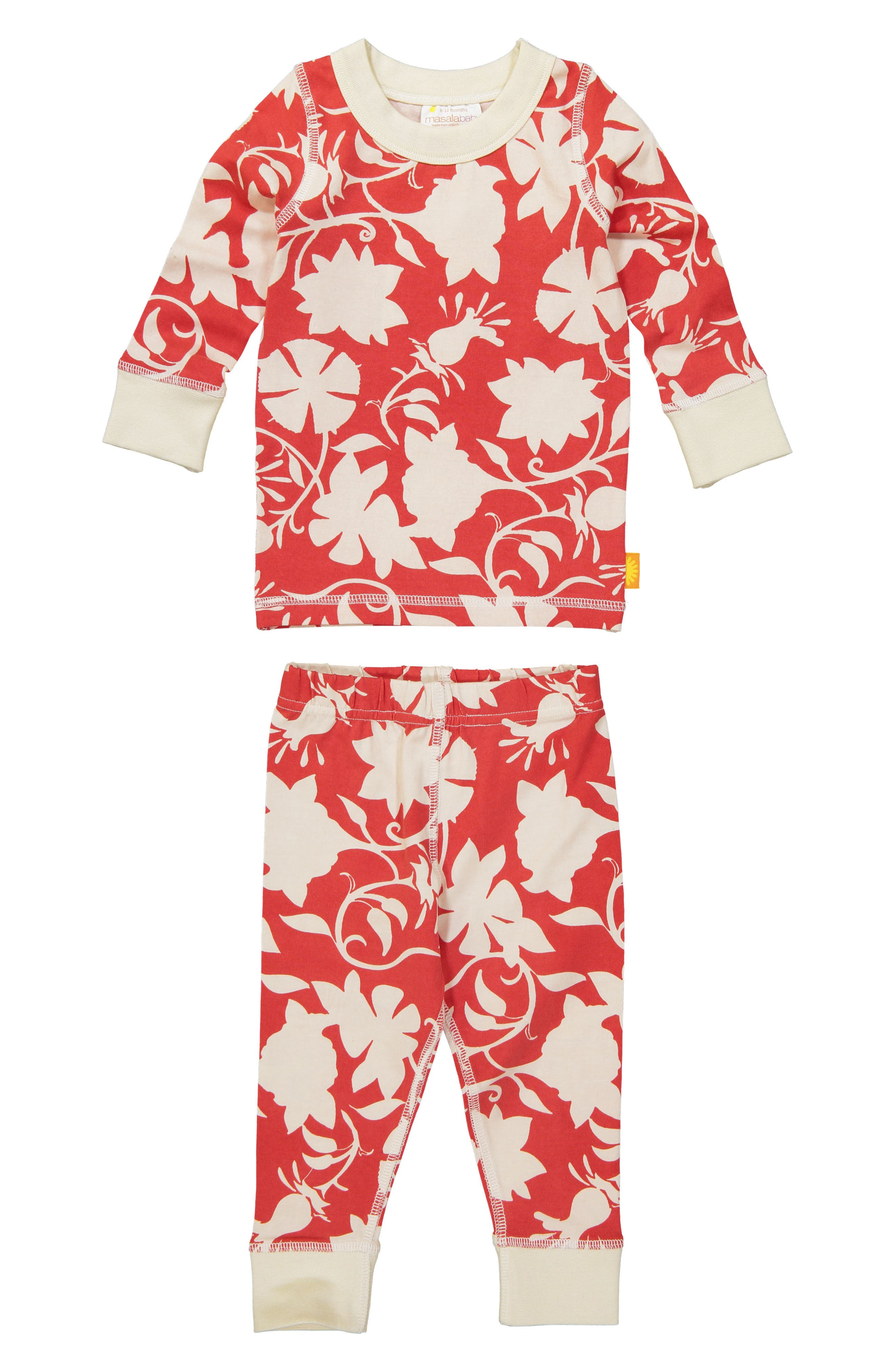 Jolie Organic Cotton Fitted Two-Piece Pajamas,                             Main thumbnail 1, color,                             RED