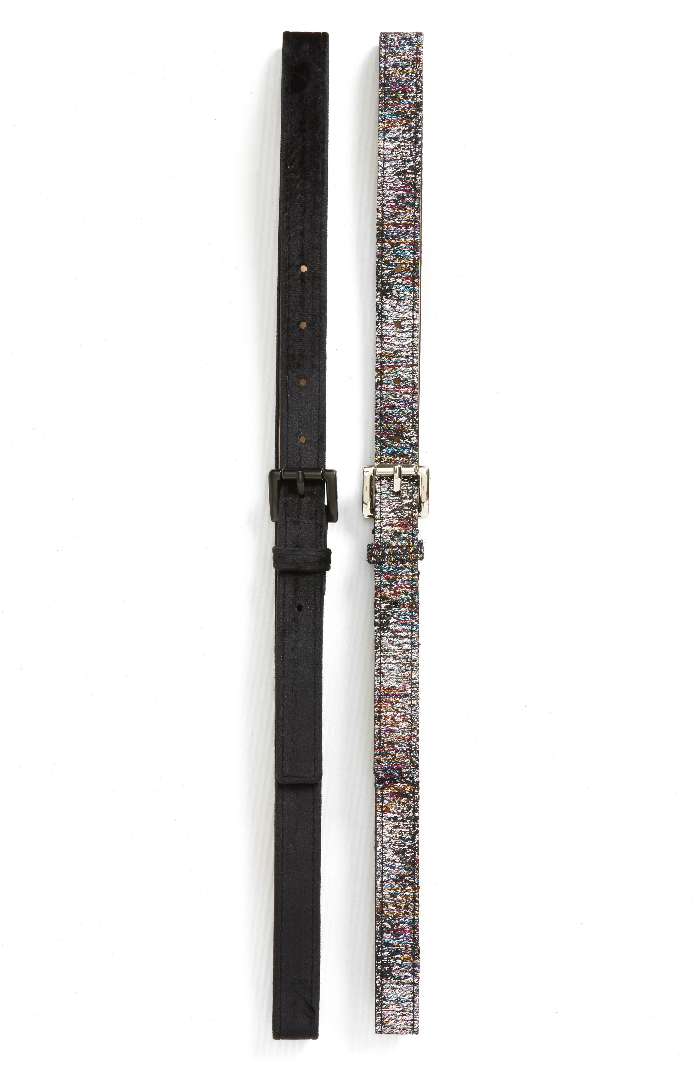 2-Pack Glitter/Velvet Belts,                             Main thumbnail 1, color,                             001