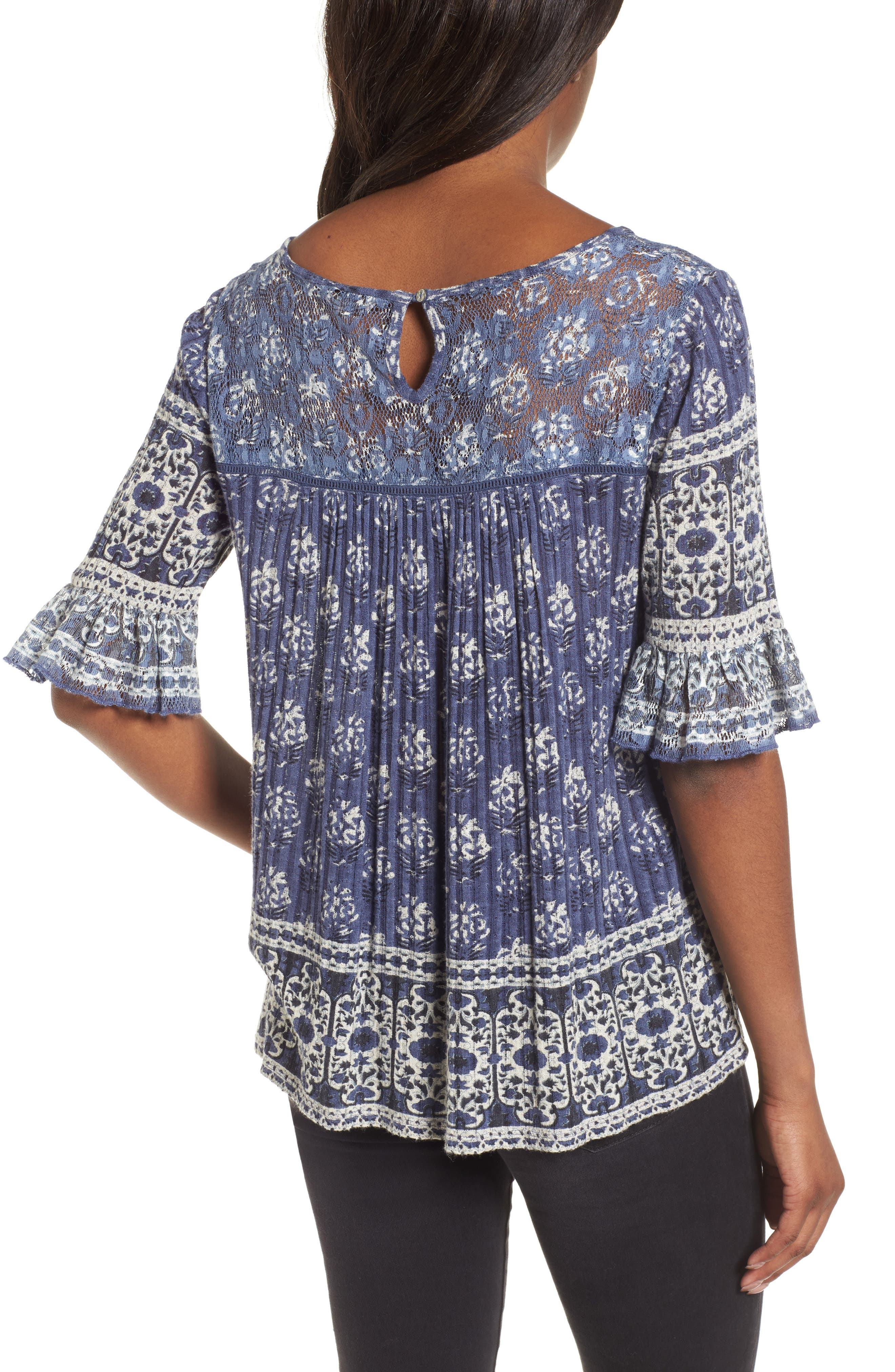 Blue and White Bell Sleeve Top,                             Alternate thumbnail 2, color,                             460