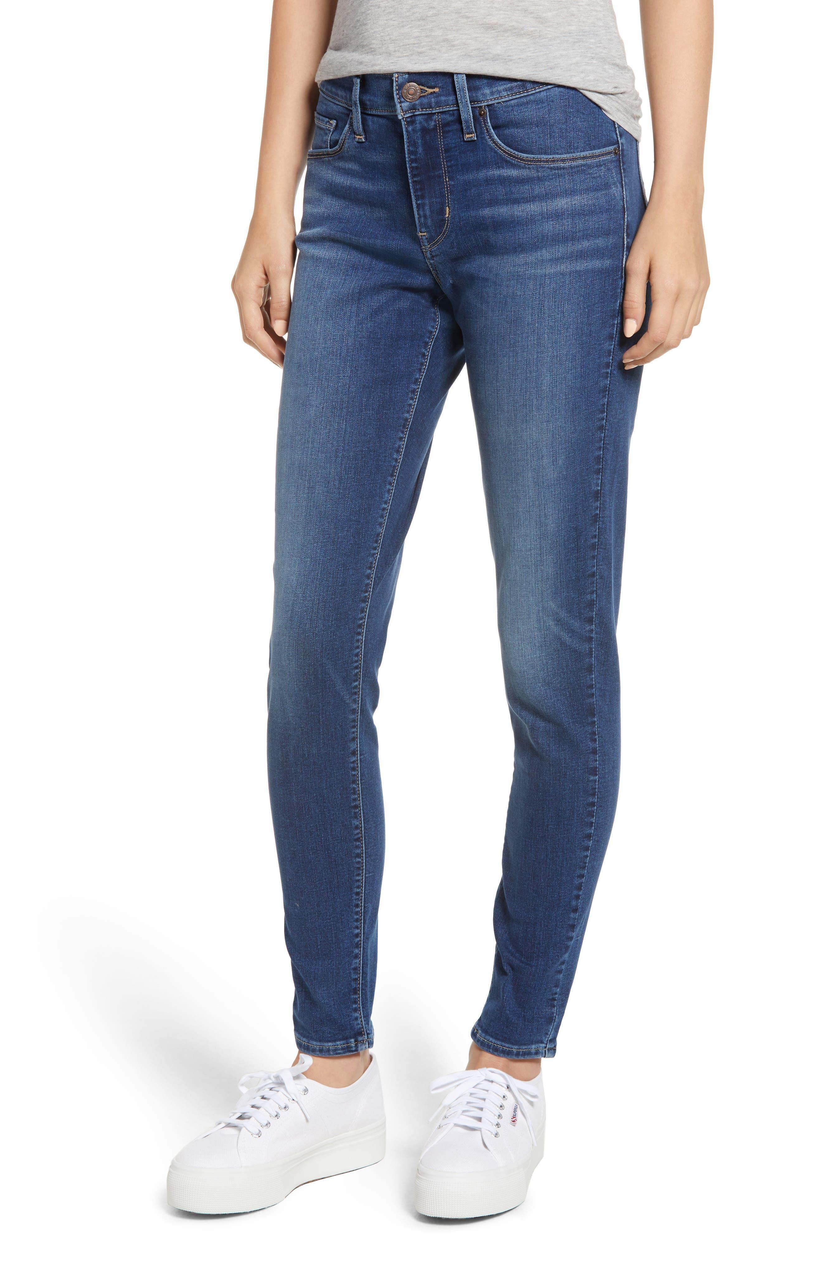 Curvy Skinny Jeans, Main, color, INDIGO MEDIAN