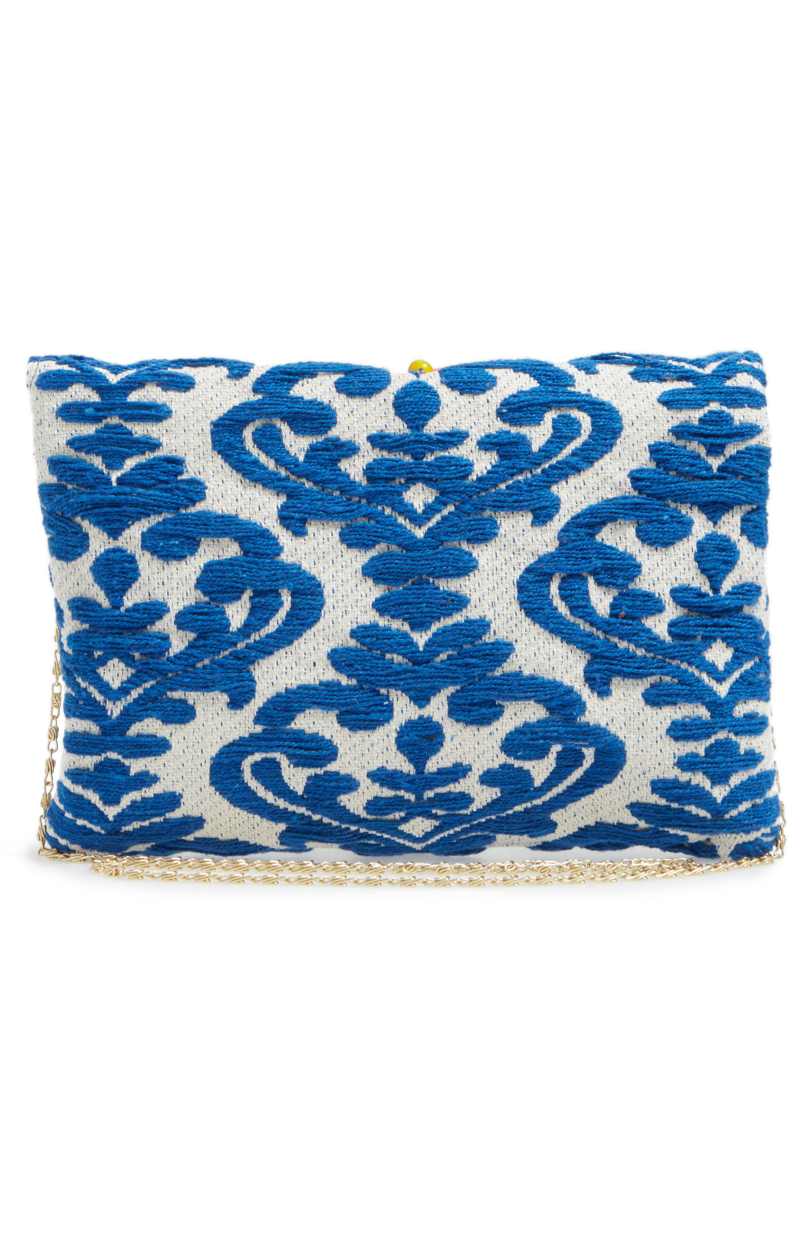 Beaded & Embroidered Clutch,                             Alternate thumbnail 3, color,                             400