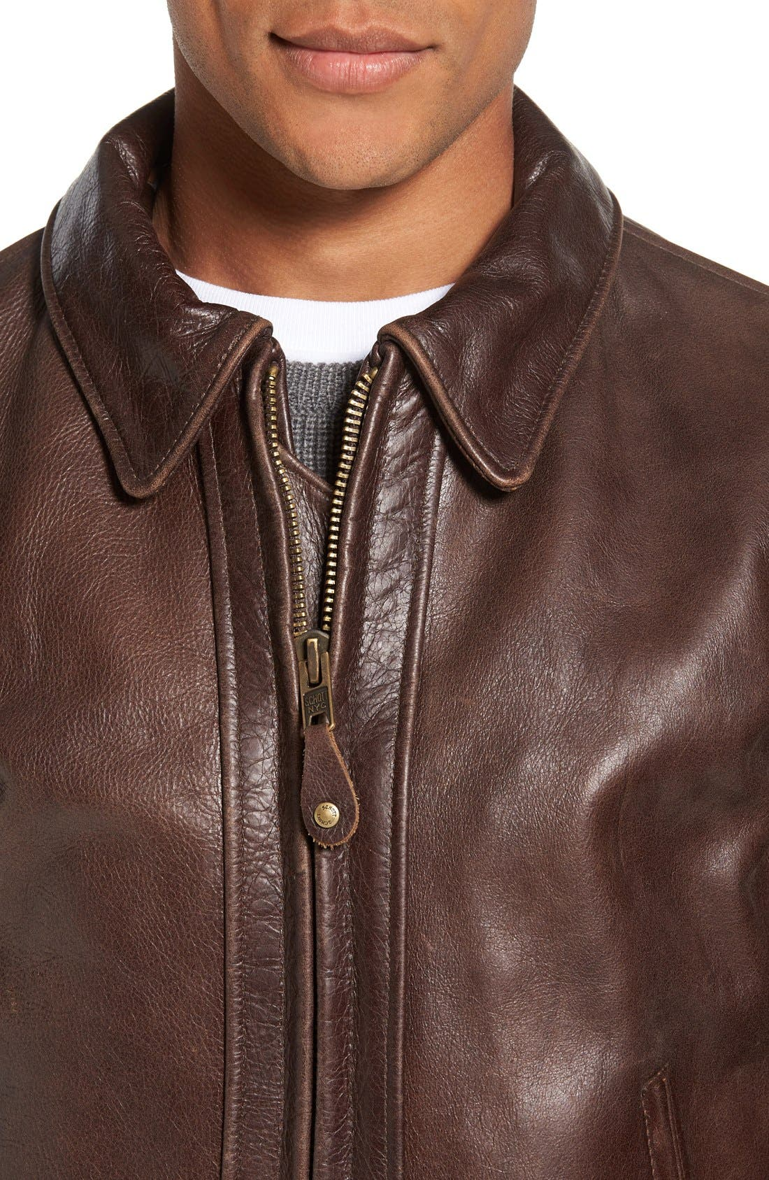 Antique Vintage Style Leather Moto Jacket,                             Alternate thumbnail 4, color,                             200