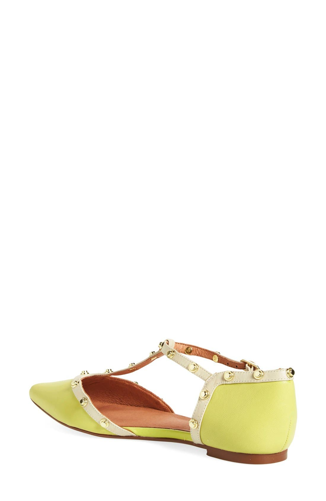 'Olson' Pointy Toe Studded T-Strap Flat,                             Alternate thumbnail 52, color,