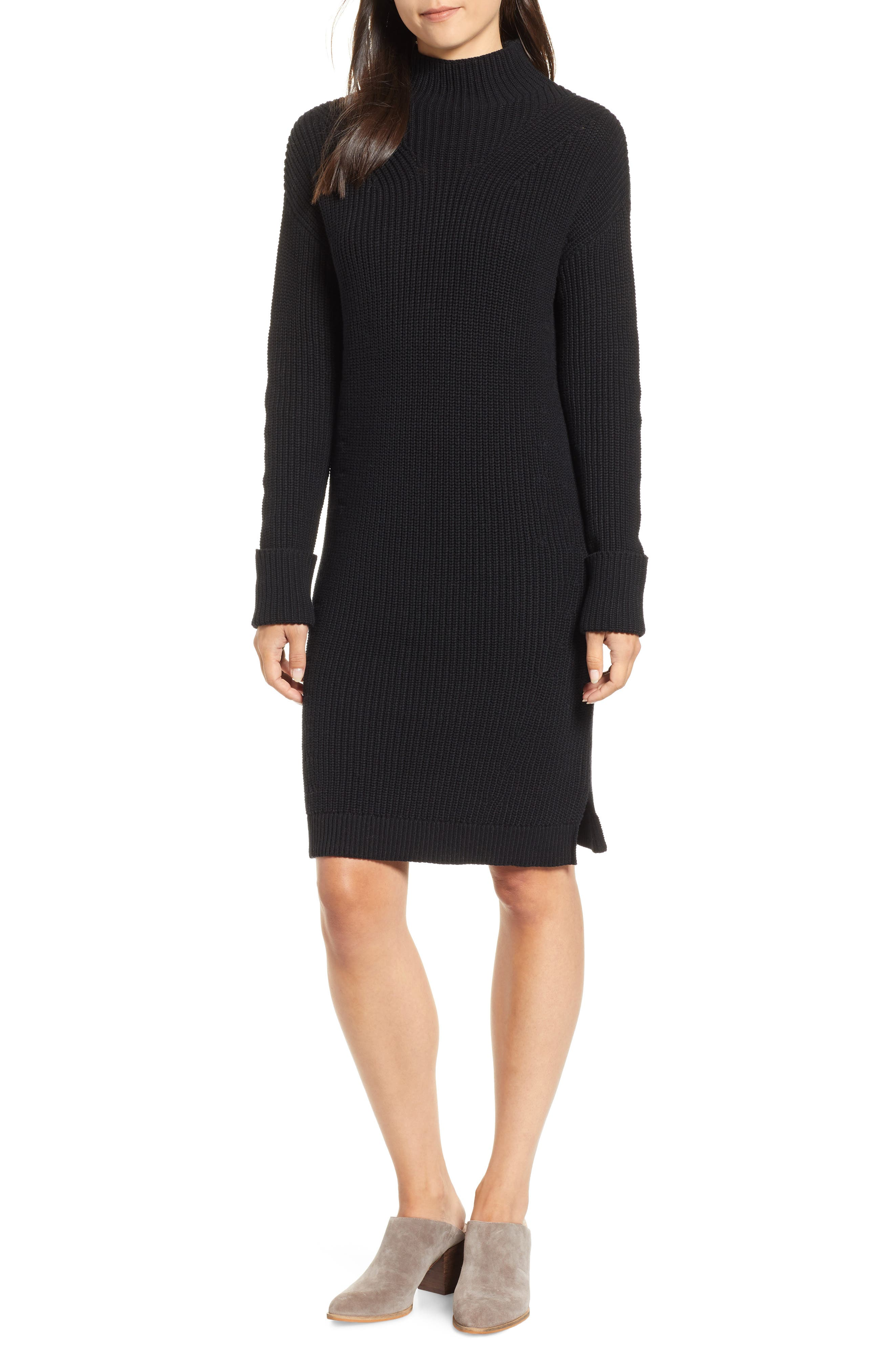 Ribbed Sweater Dress,                         Main,                         color, BLACK