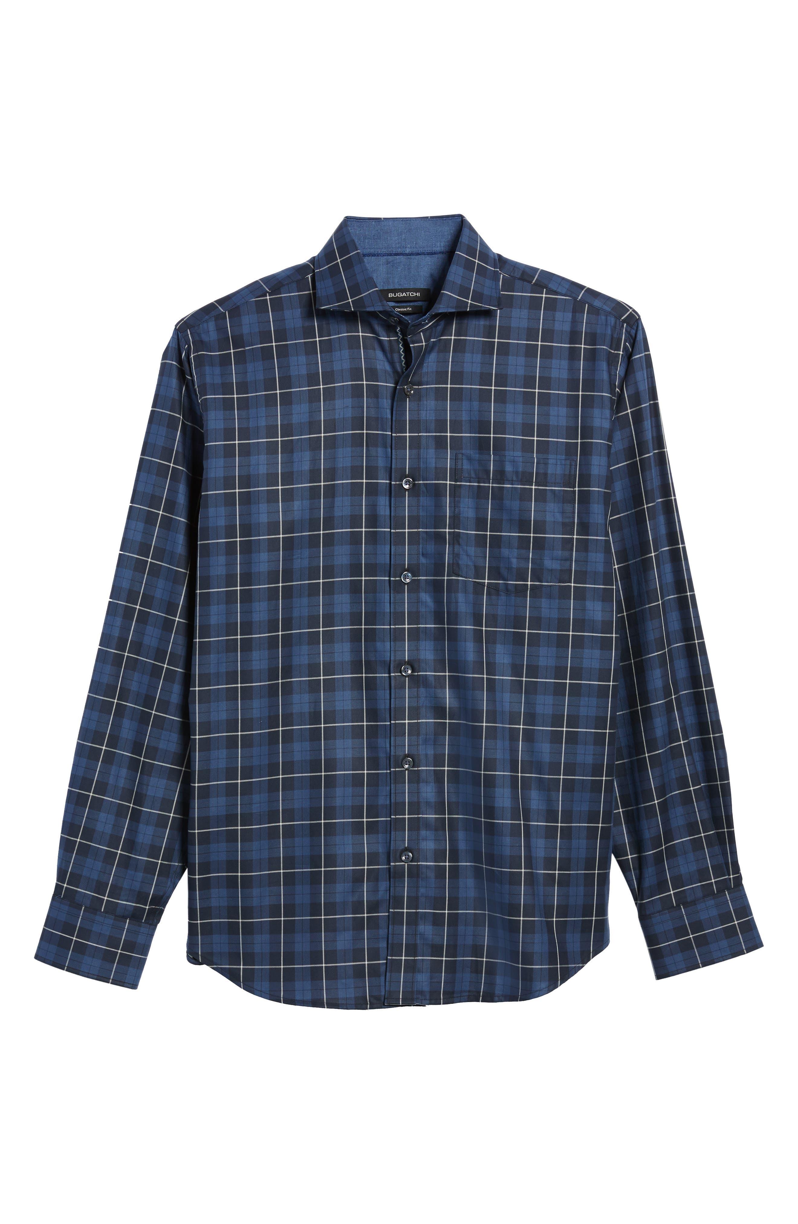 Classic Fit Plaid Sport Shirt,                             Alternate thumbnail 6, color,