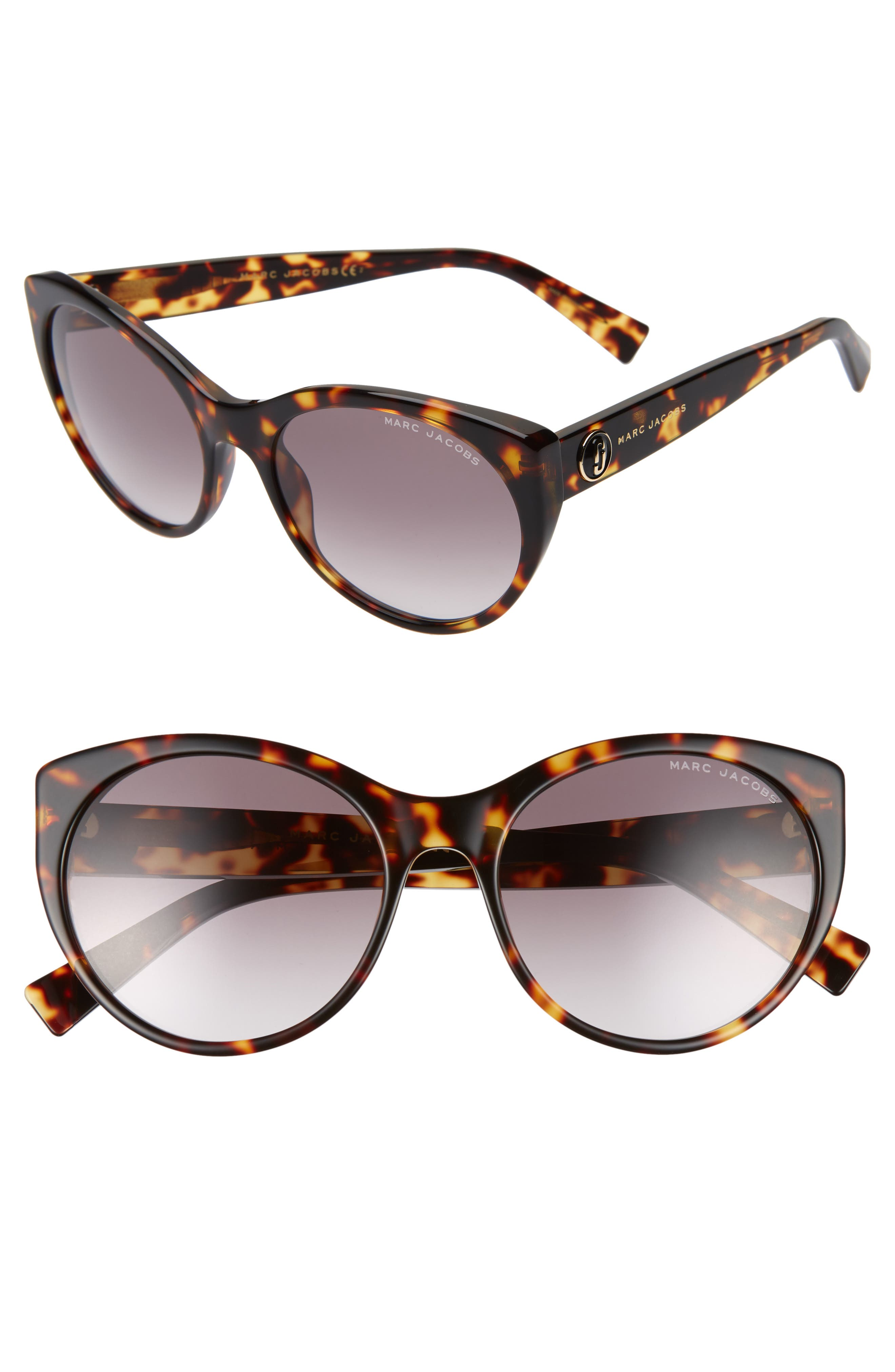 MARC JACOBS 57mm Round Sunglasses, Main, color, BLACK DARK HAVANA