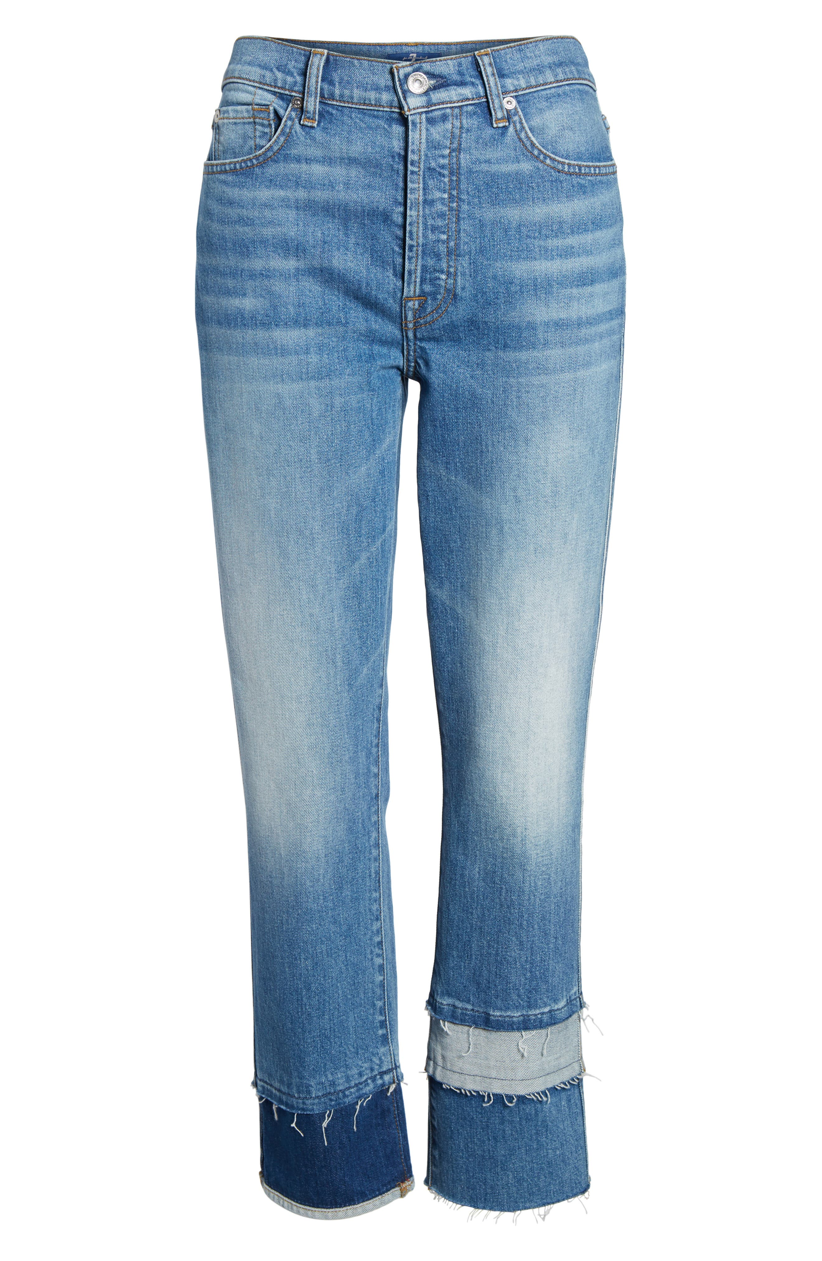 Edie Pieced Hem Cropped Jeans,                             Alternate thumbnail 7, color,                             401