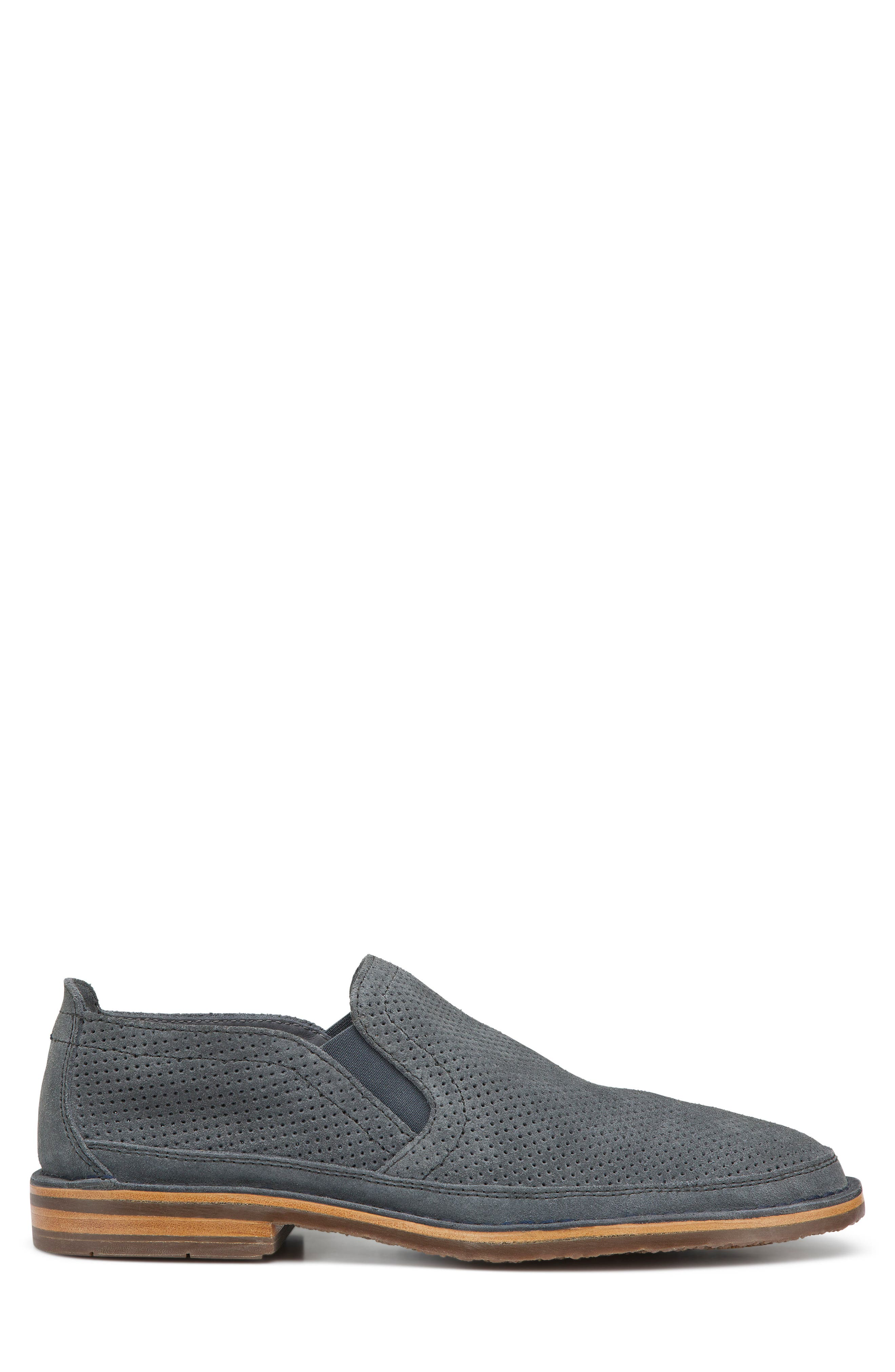TRASK,                             Bradley Perforated Slip-On,                             Alternate thumbnail 2, color,                             SLATE GREY SUEDE