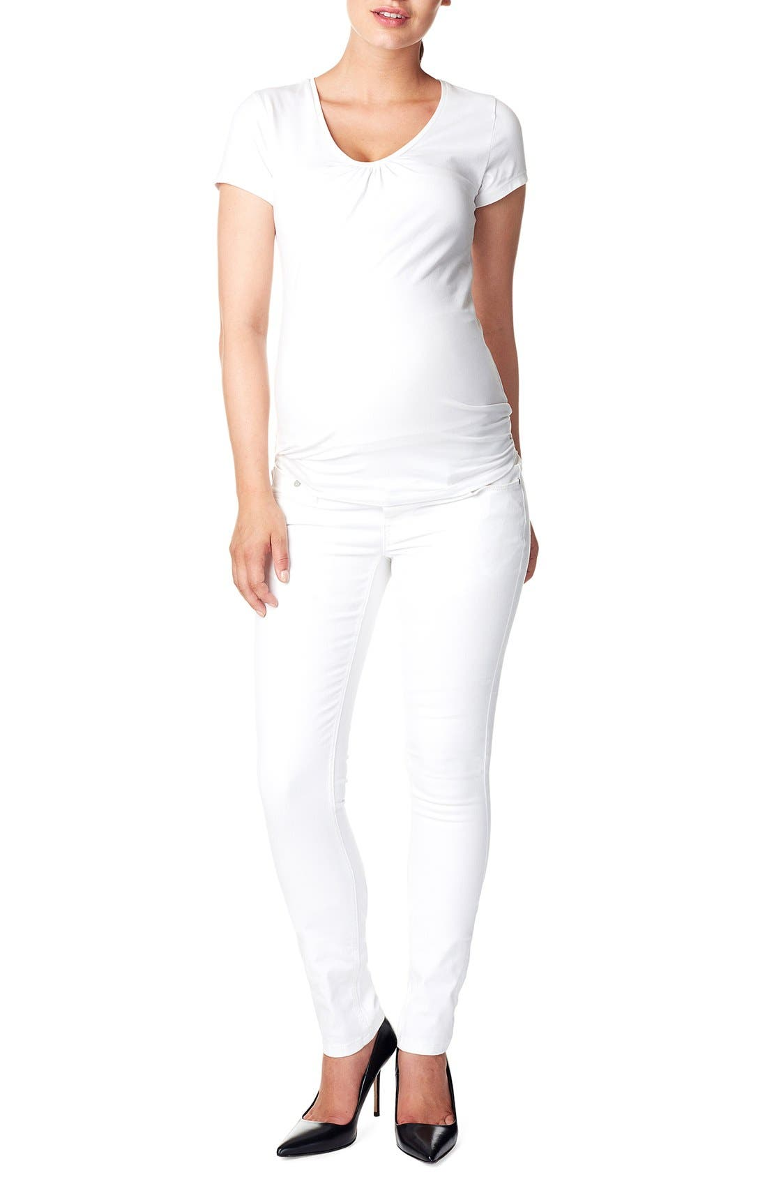 'Leah' Over the Belly Slim Maternity Jeans,                         Main,                         color, WHITE