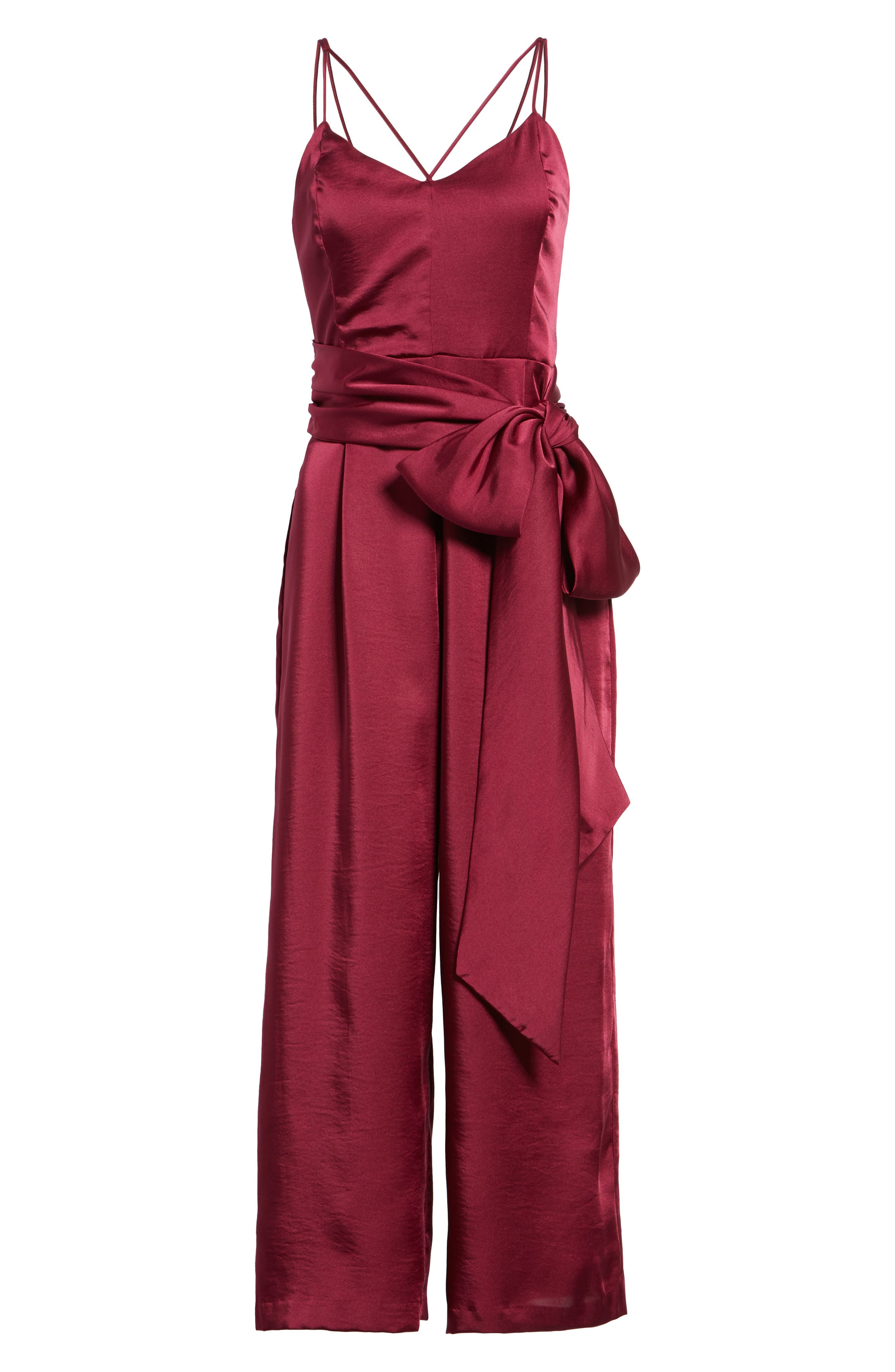 Strappy Satin Jumpsuit,                             Alternate thumbnail 6, color,                             650
