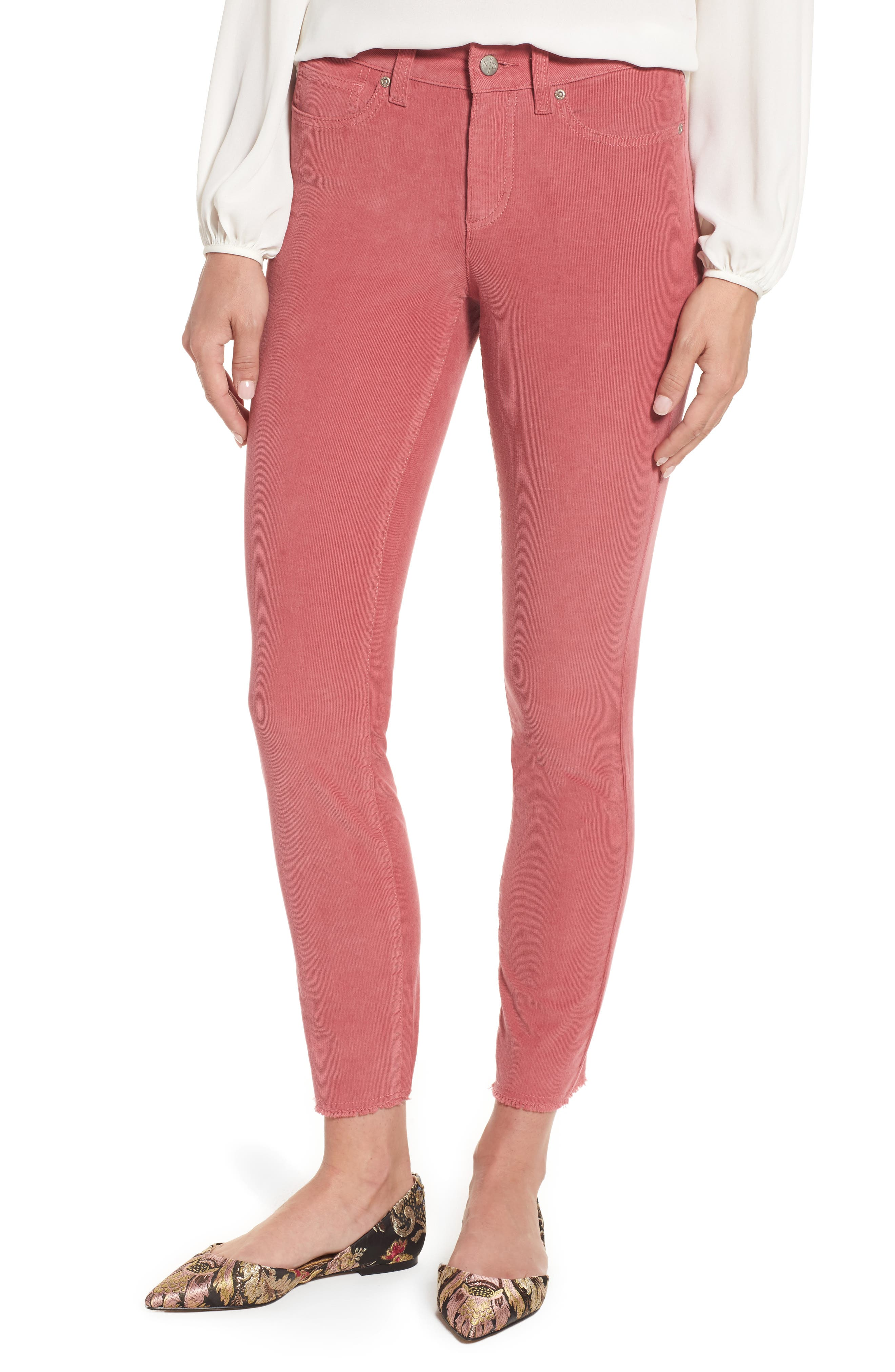 Alina Frayed Stretch Corduroy Ankle Jeans,                             Main thumbnail 3, color,