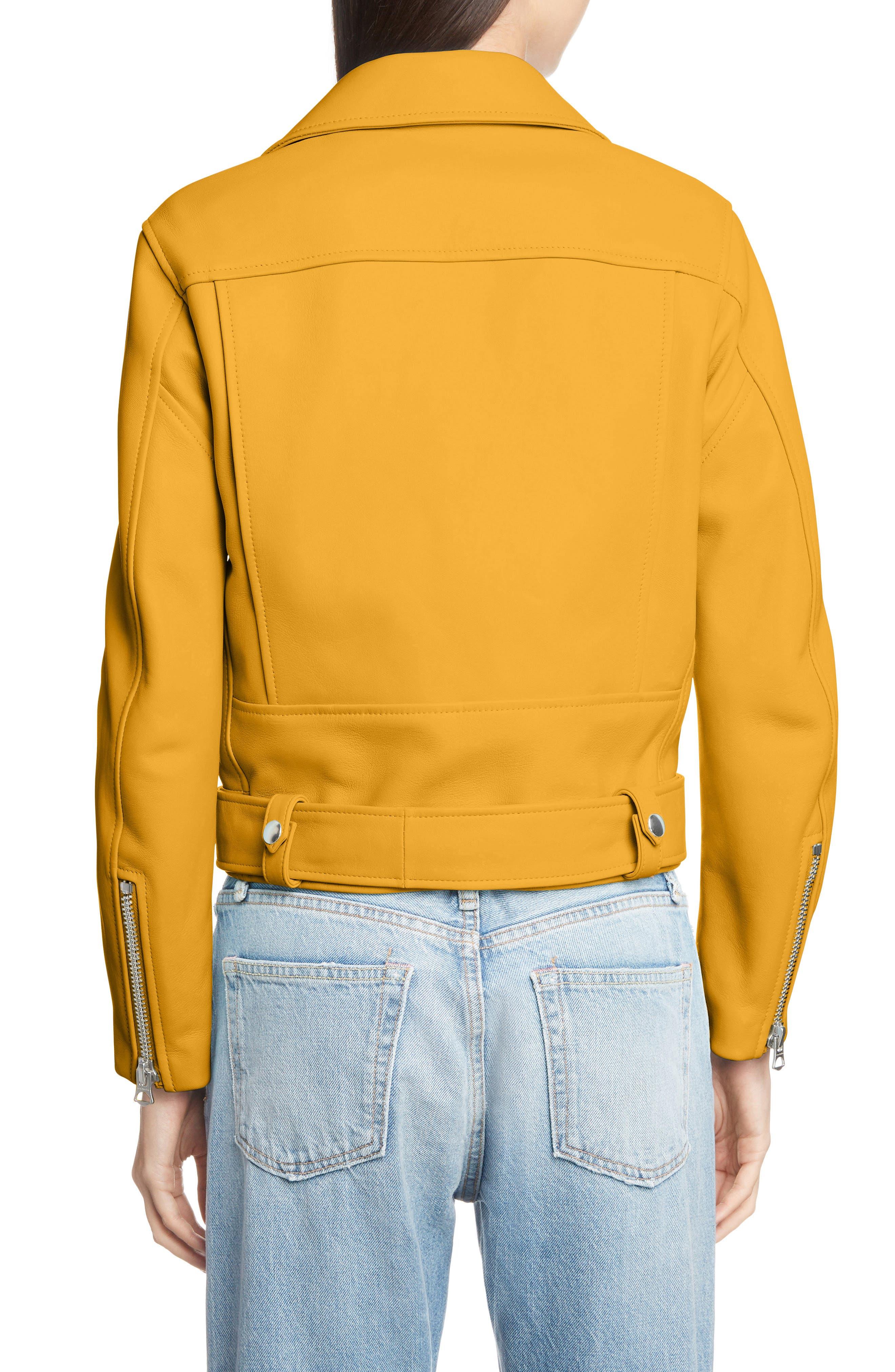 Mock Core Leather Moto Jacket,                             Alternate thumbnail 2, color,                             SUNFLOWER YELLOW