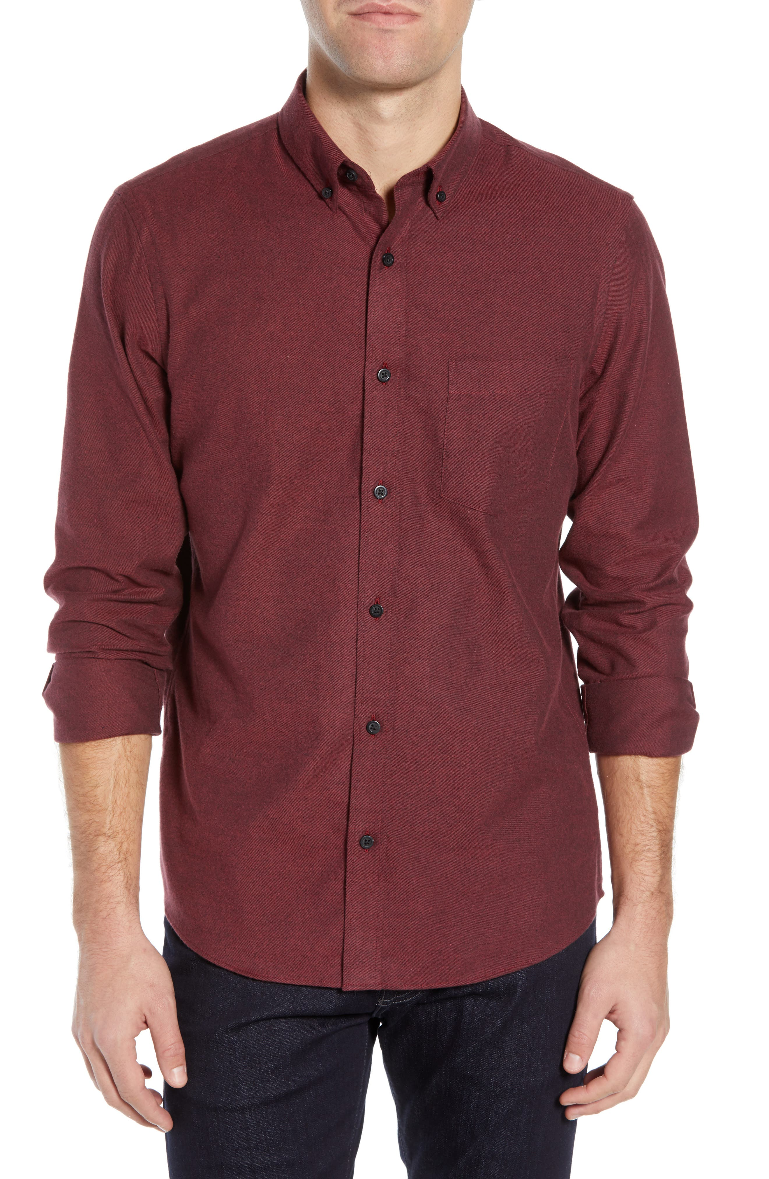 NORDSTROM MEN'S SHOP,                             Slim Fit Brushed Twill Sport Shirt,                             Main thumbnail 1, color,                             RED JESTER BRUSHED TWILL