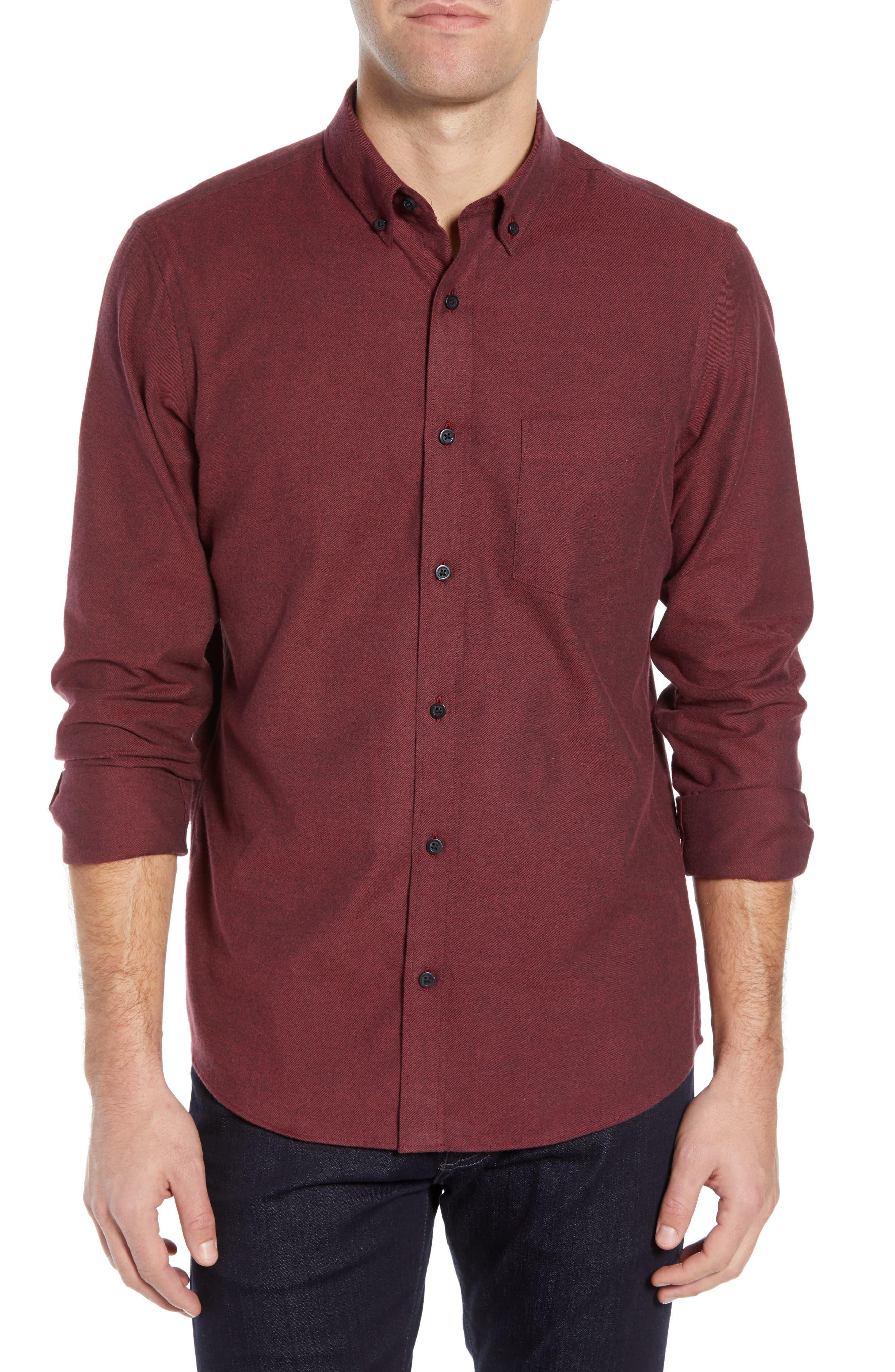 NORDSTROM MEN'S SHOP Slim Fit Brushed Twill Sport Shirt, Main, color, RED JESTER BRUSHED TWILL