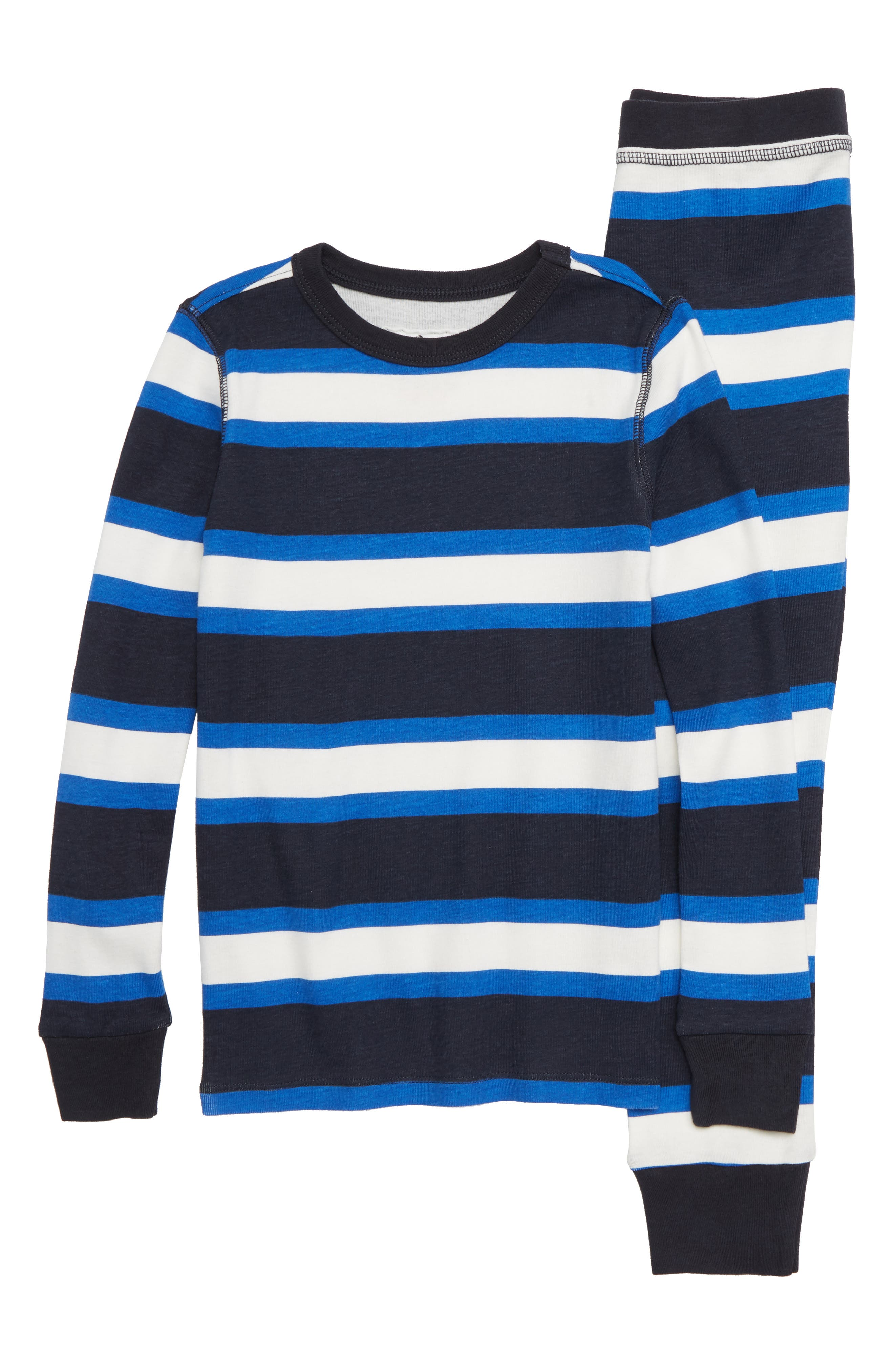 Stripe Fitted Two-Piece Pajamas,                         Main,                         color, 400