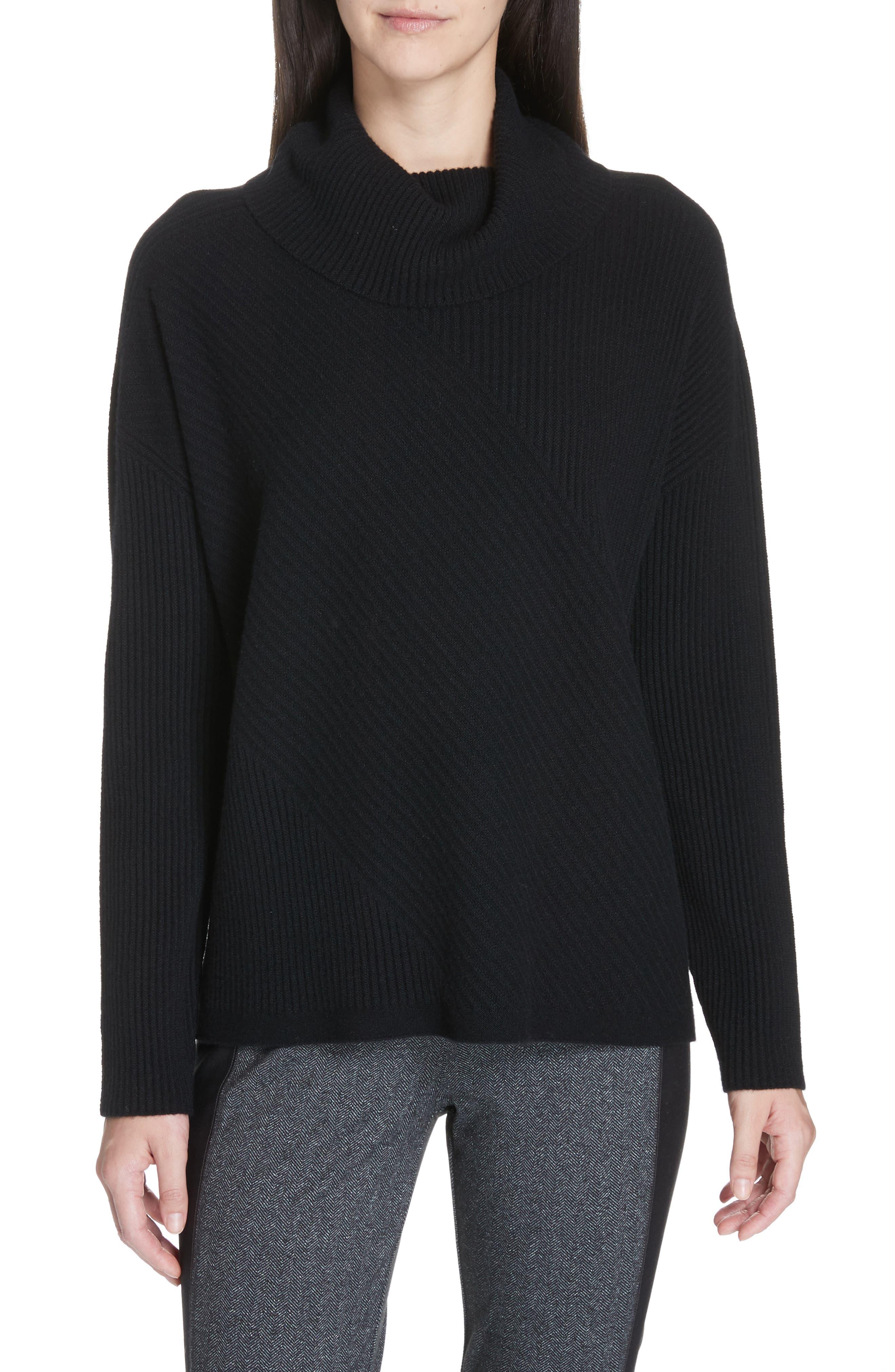 Cashmere Turtleneck Top, Main, color, BLACK