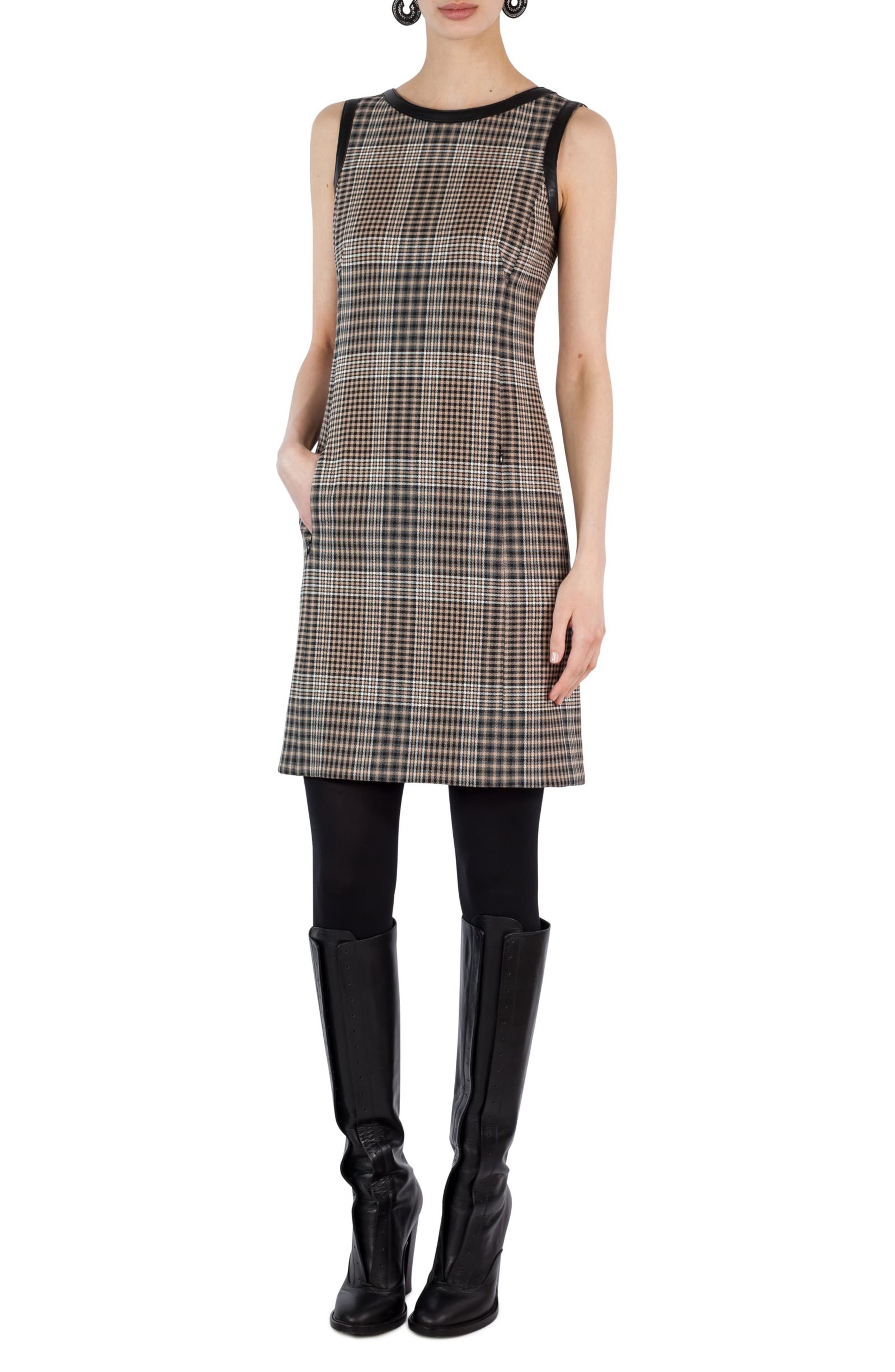 Glen Check Sheath Dress,                             Alternate thumbnail 3, color,                             200