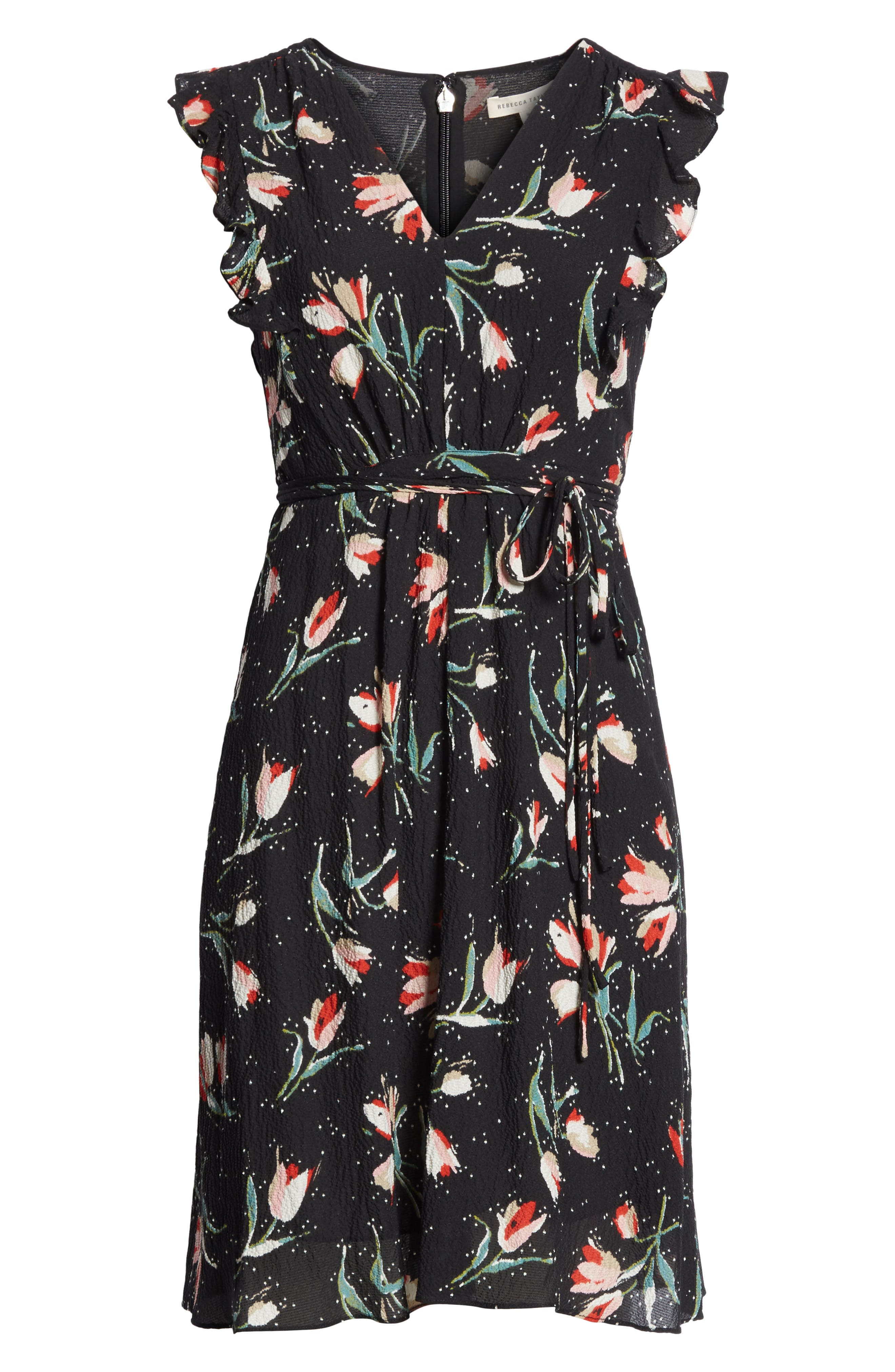Ruffled Ikat Floral A-Line Dress,                             Alternate thumbnail 6, color,