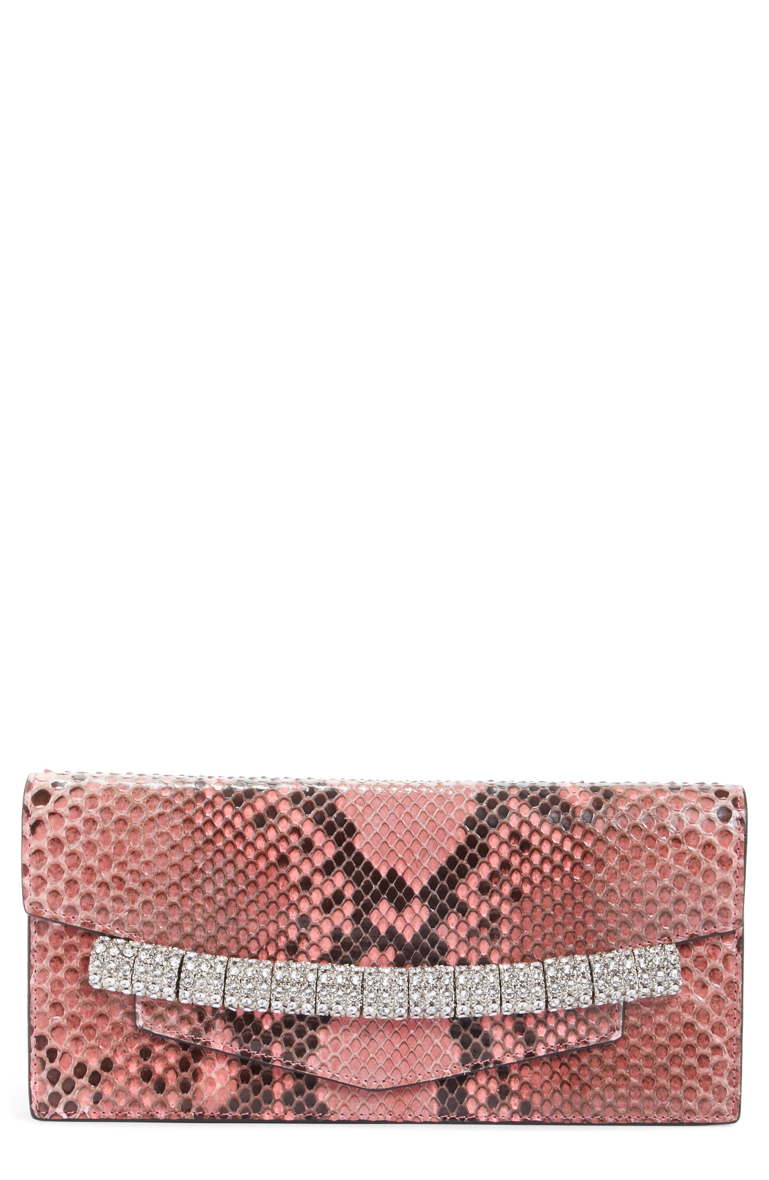 Crystal Strap Genuine Python Clutch,                         Main,                         color, 686