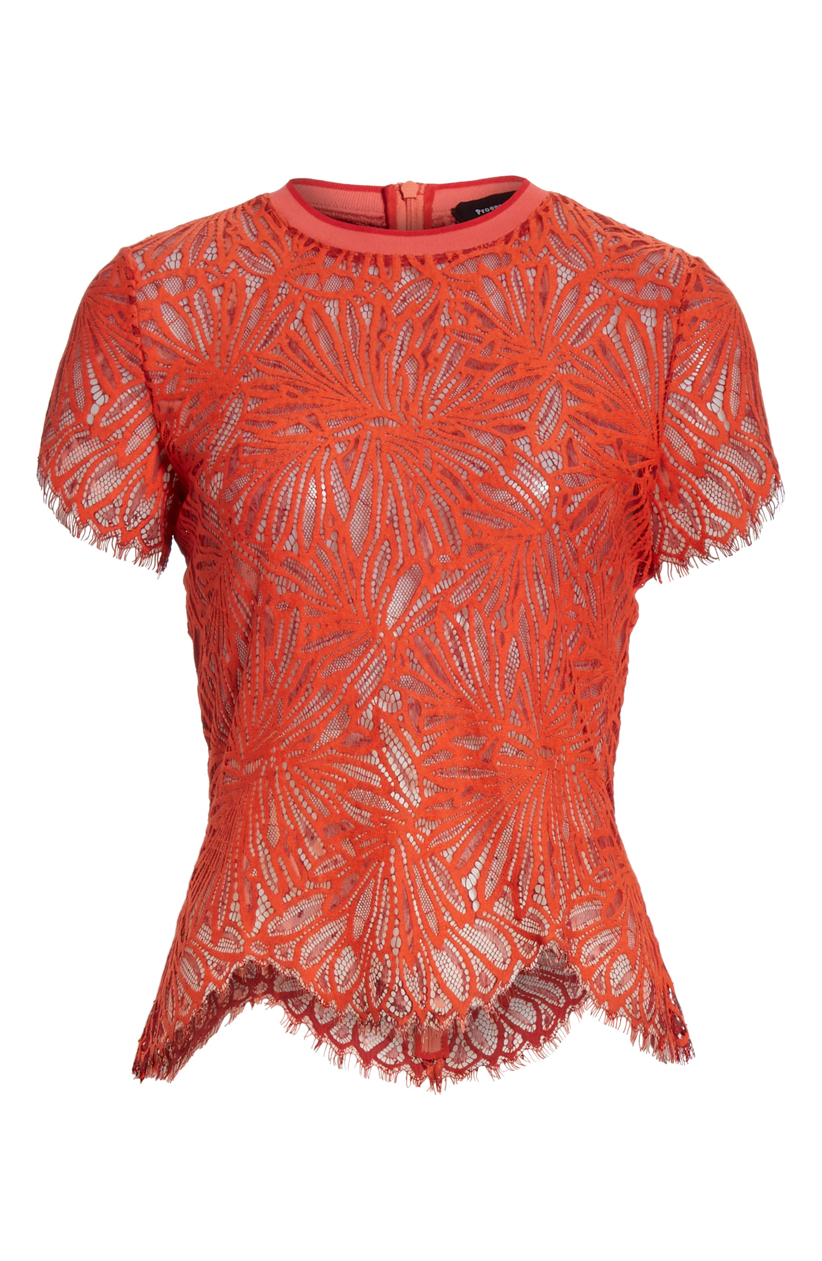 PROENZA SCHOULER,                             Scalloped Stretch Lace Top,                             Alternate thumbnail 6, color,                             TANGERINE