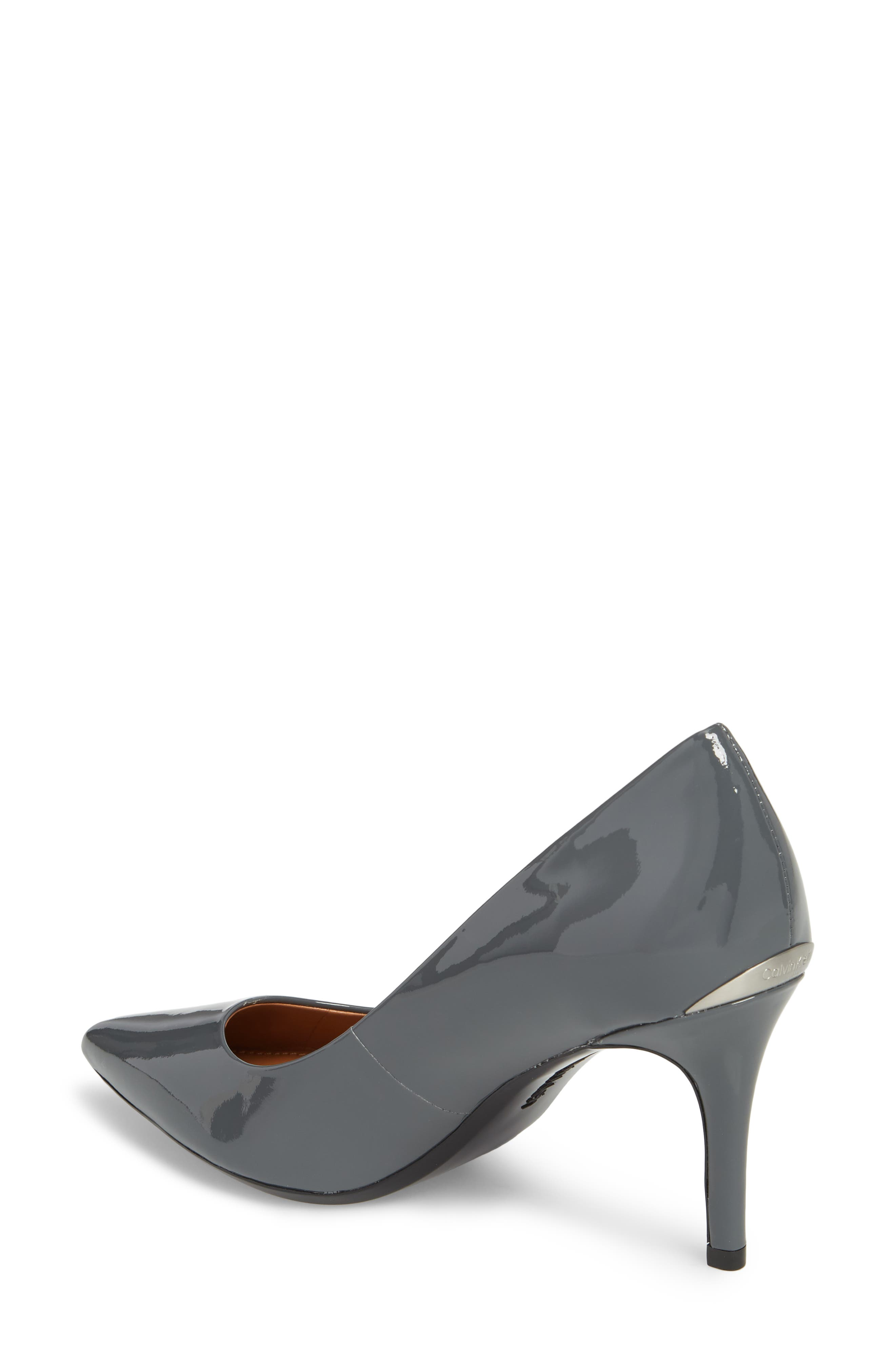 'Gayle' Pointy Toe Pump,                             Alternate thumbnail 2, color,                             STEEL GREYSTONE LEATHER