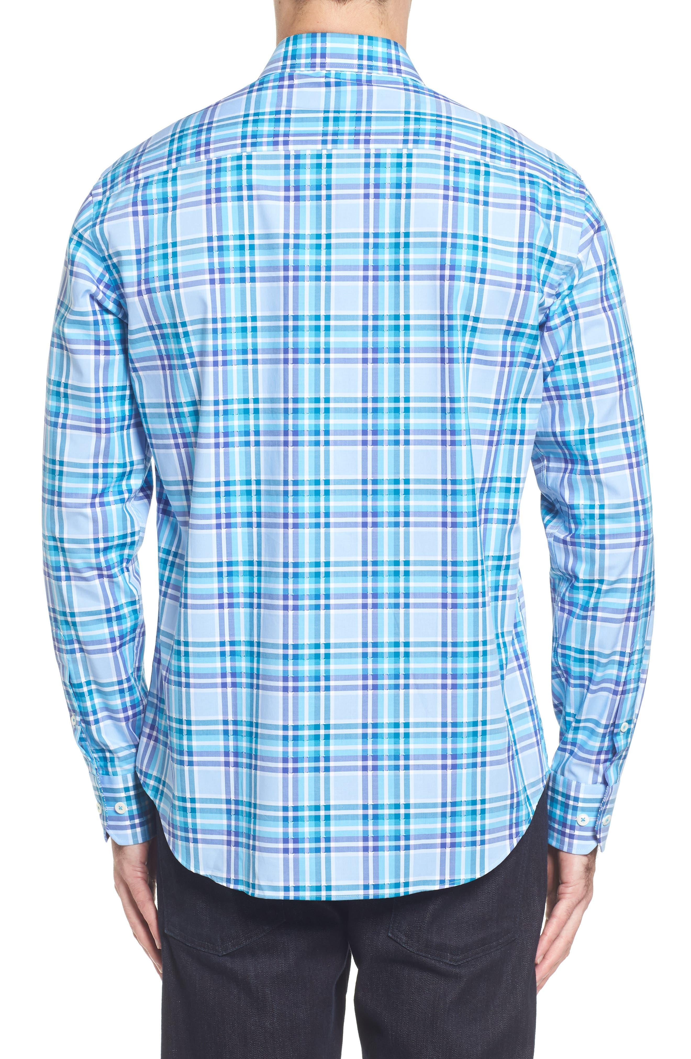 Shaped Fit Plaid Sport Shirt,                             Alternate thumbnail 2, color,                             422
