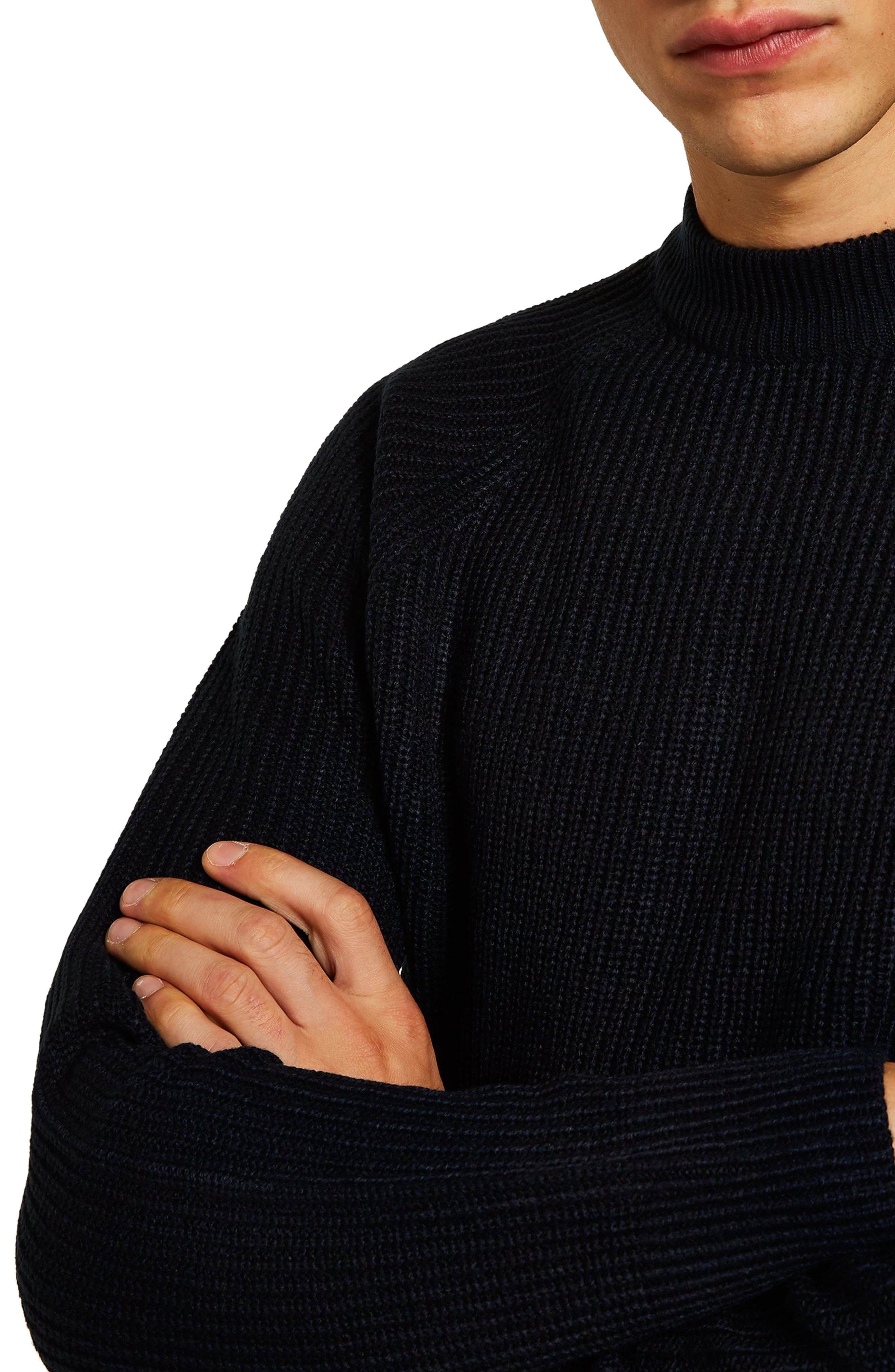 Ribbed Sweater,                             Alternate thumbnail 3, color,                             NAVY BLUE
