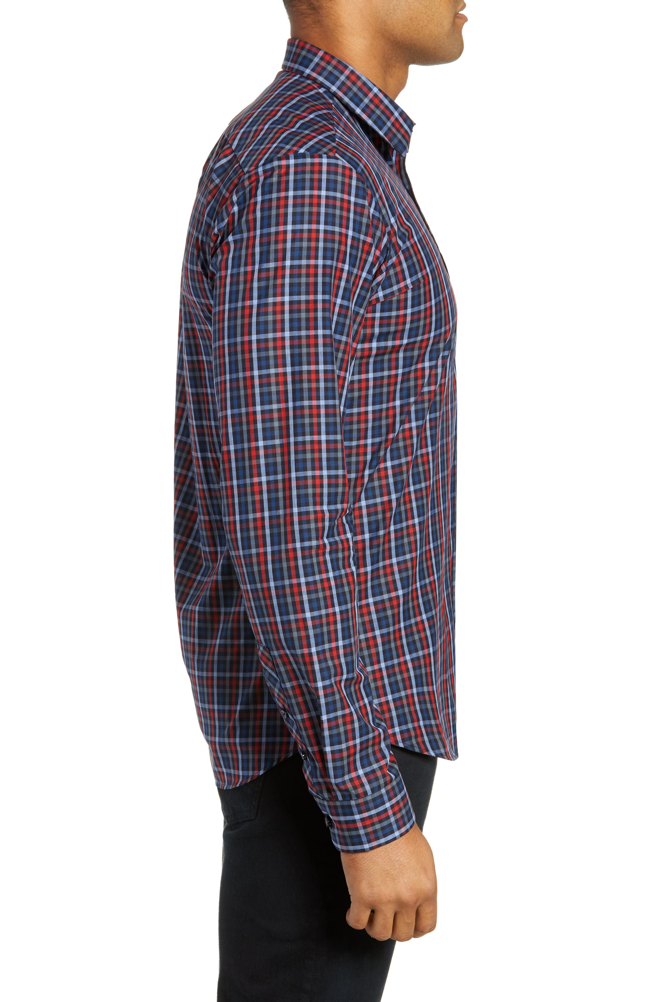 Trim Fit Sport Shirt,                             Alternate thumbnail 4, color,                             RED - BLUE MULTI CHECK